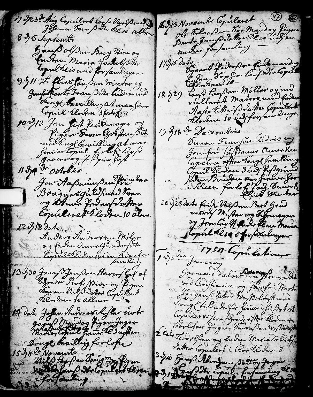 SAKO, Skien kirkebøker, F/Fa/L0002: Ministerialbok nr. 2, 1716-1757, s. 47