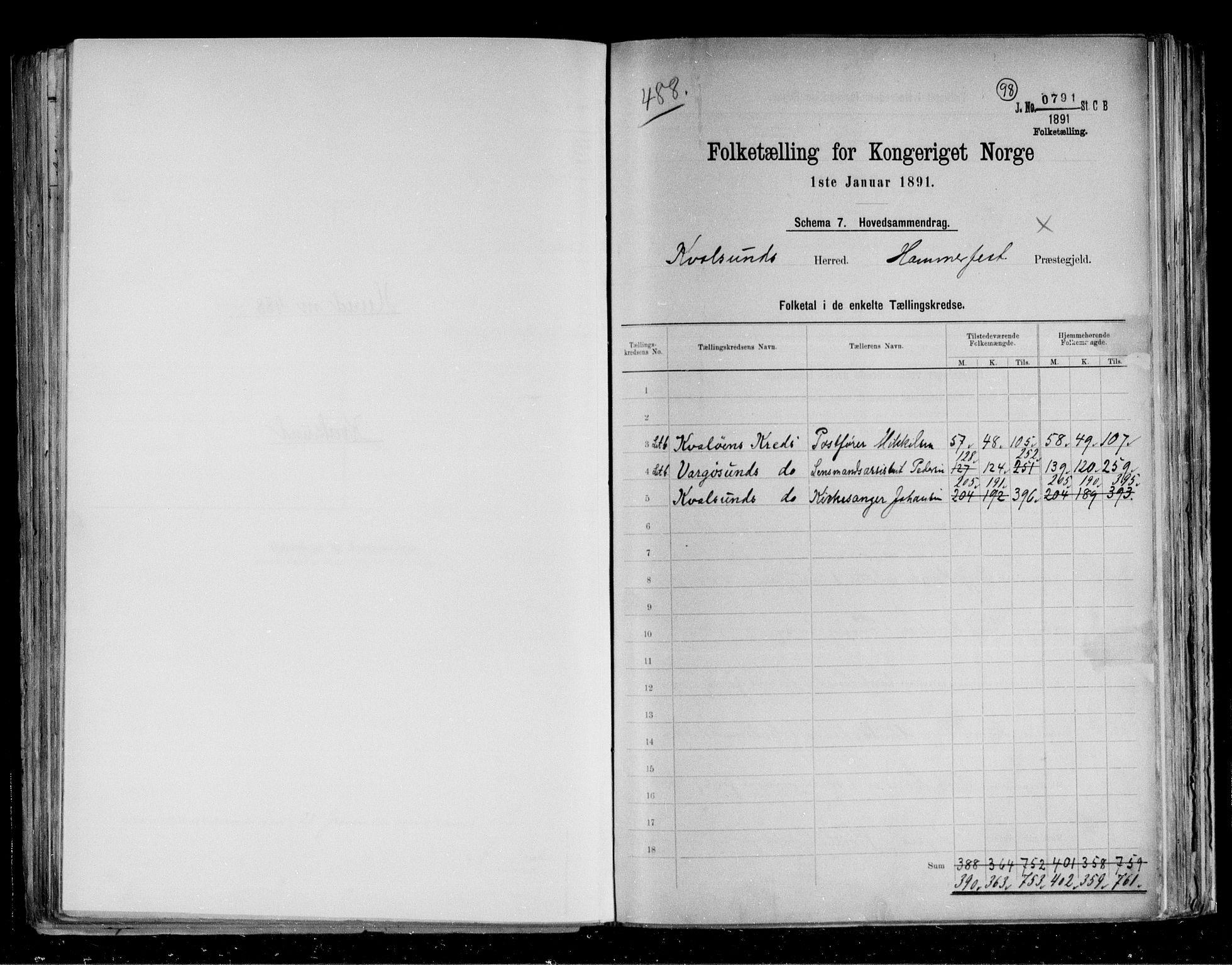 RA, Folketelling 1891 for 2017 Kvalsund herred, 1891, s. 2