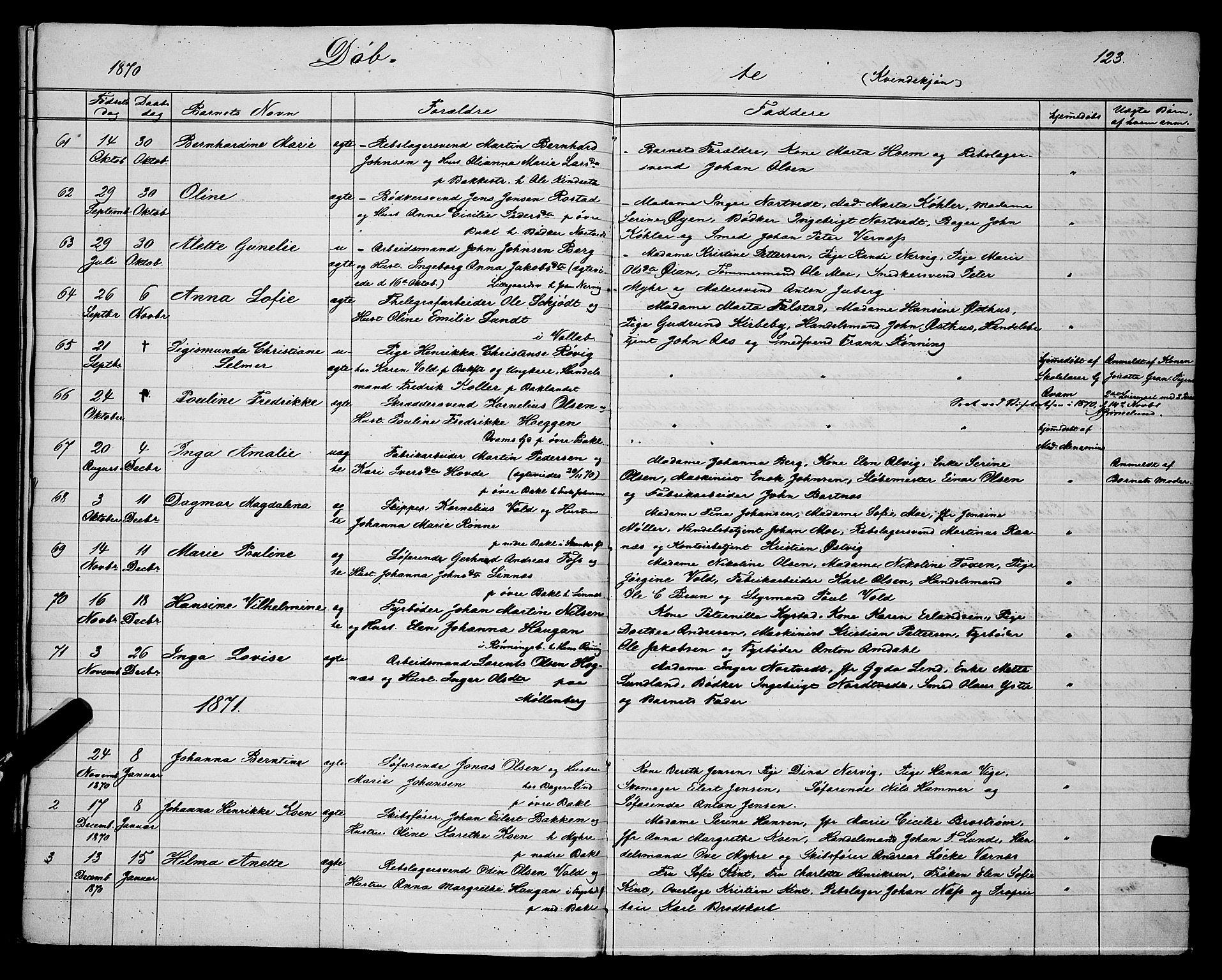 SAT, Ministerialprotokoller, klokkerbøker og fødselsregistre - Sør-Trøndelag, 604/L0220: Klokkerbok nr. 604C03, 1870-1885, s. 123