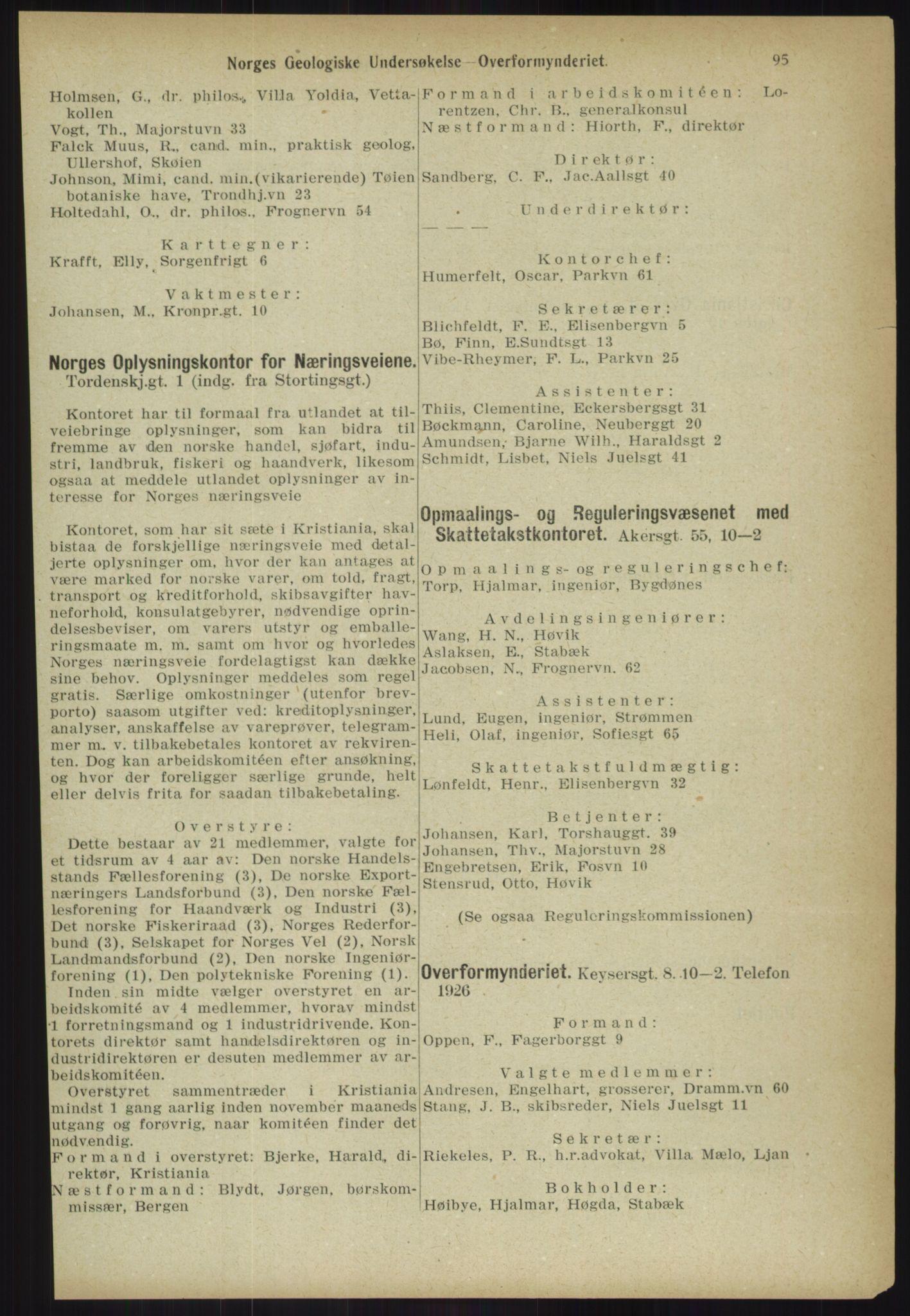 RA, Kristiania adressebok (publikasjon)*, 1918, s. 95