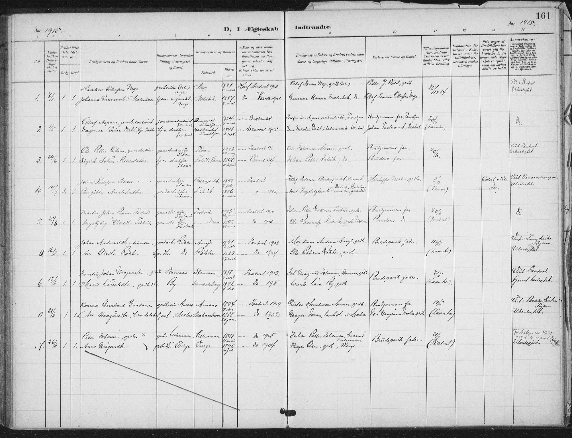 SAT, Ministerialprotokoller, klokkerbøker og fødselsregistre - Nord-Trøndelag, 712/L0101: Ministerialbok nr. 712A02, 1901-1916, s. 161