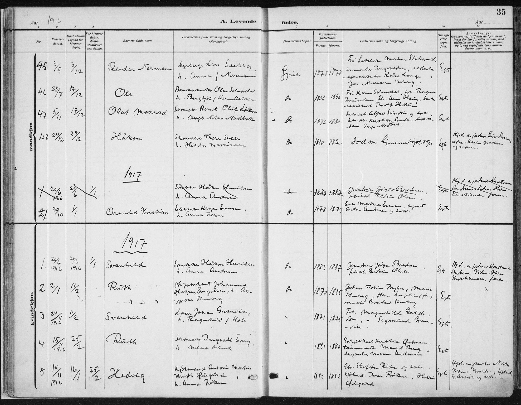 SAH, Vardal prestekontor, H/Ha/Haa/L0014: Ministerialbok nr. 14, 1912-1922, s. 35