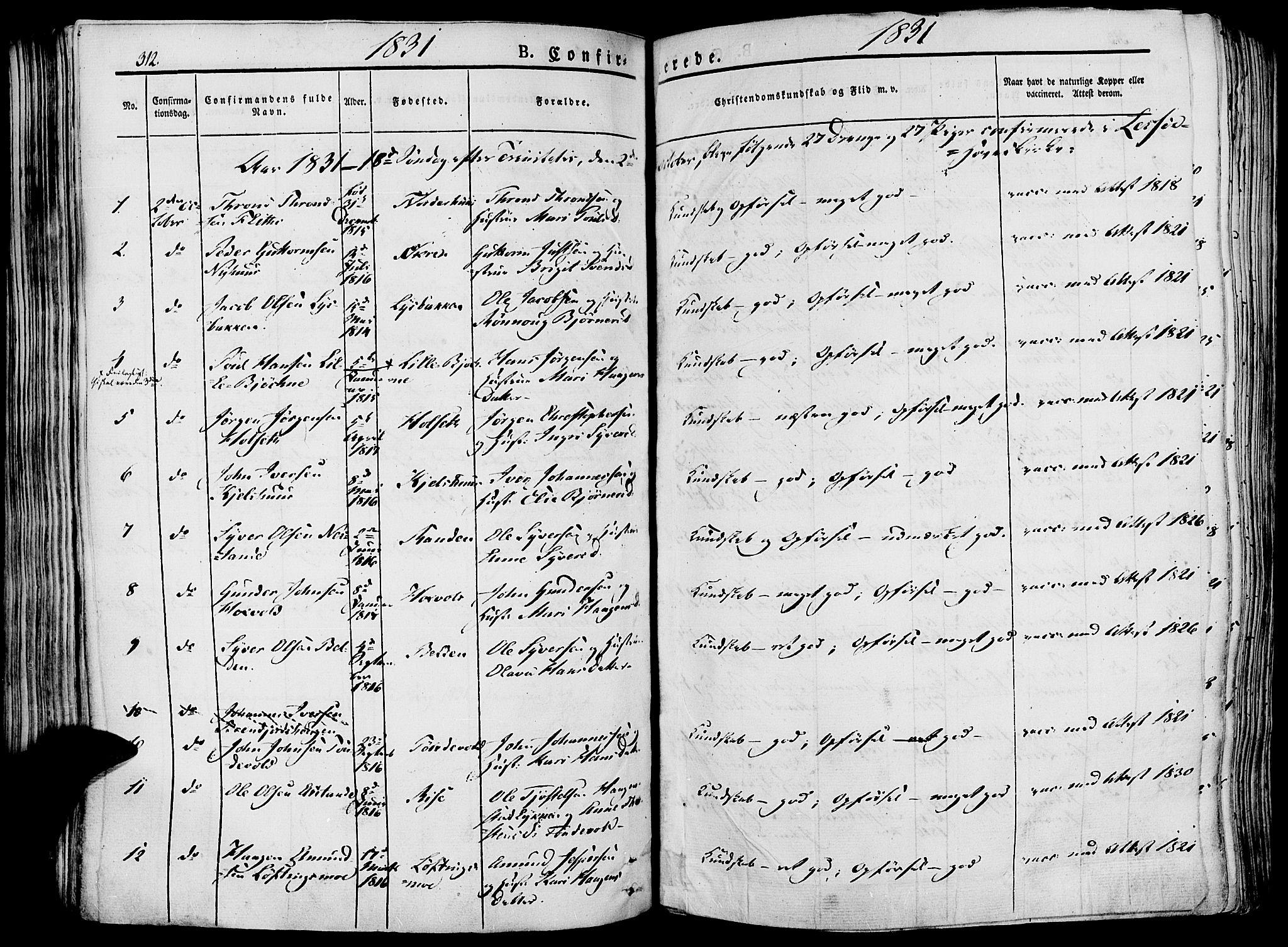 SAH, Lesja prestekontor, Ministerialbok nr. 5, 1830-1842, s. 312