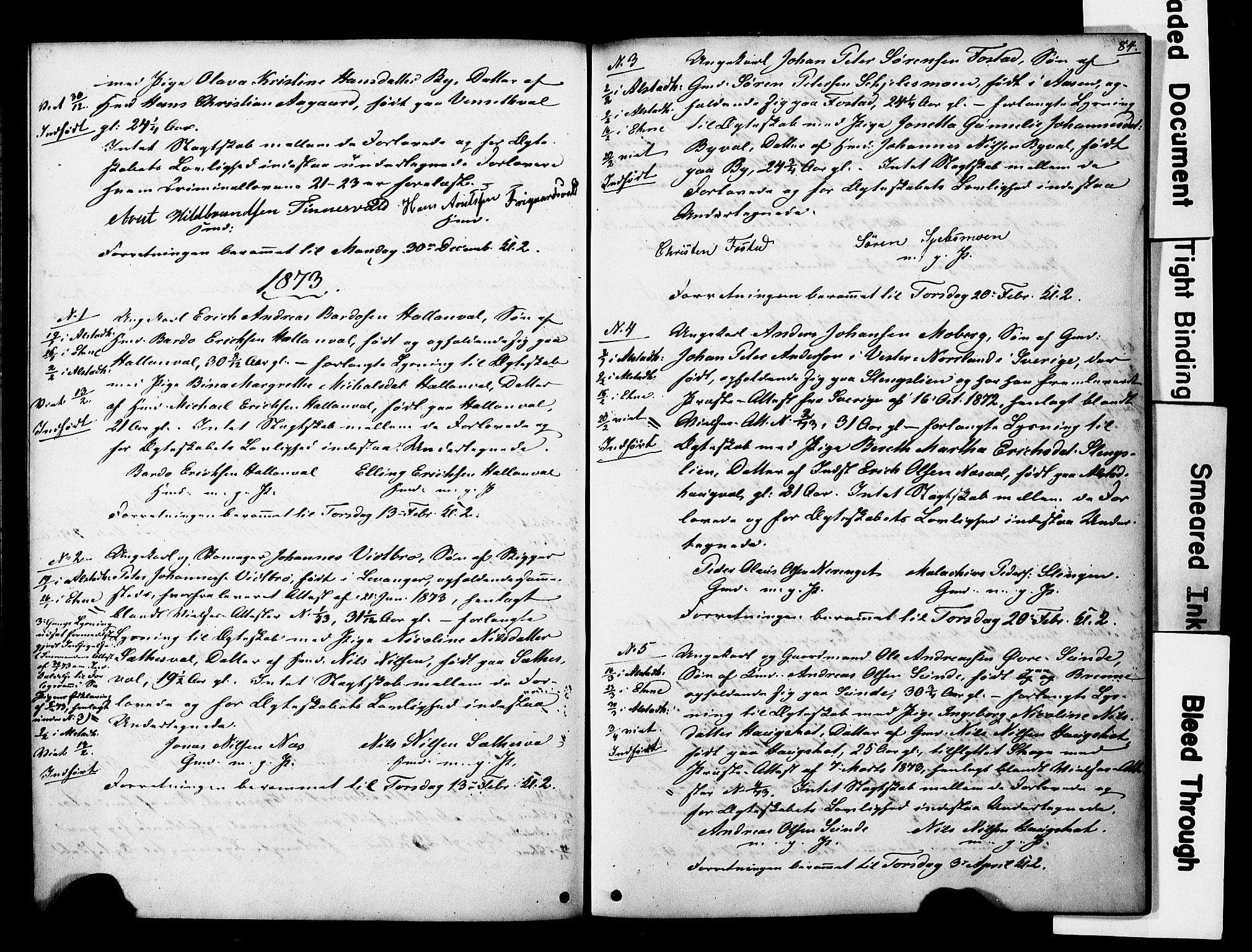 SAT, Ministerialprotokoller, klokkerbøker og fødselsregistre - Nord-Trøndelag, 717/L0161: Forlovererklæringer nr. 717A11, 1850-1895, s. 84