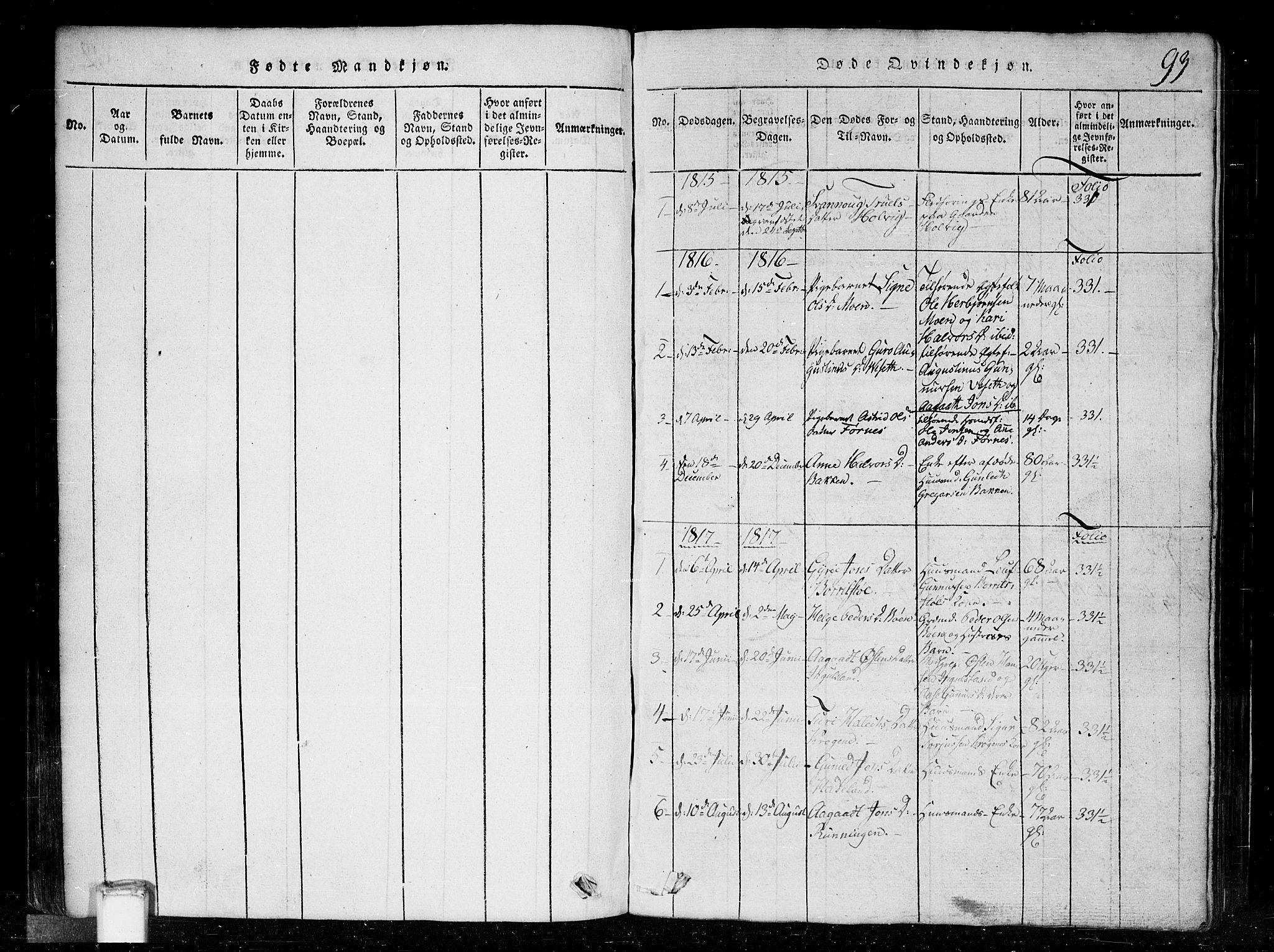 SAKO, Tinn kirkebøker, G/Gc/L0001: Klokkerbok nr. III 1, 1815-1879, s. 93