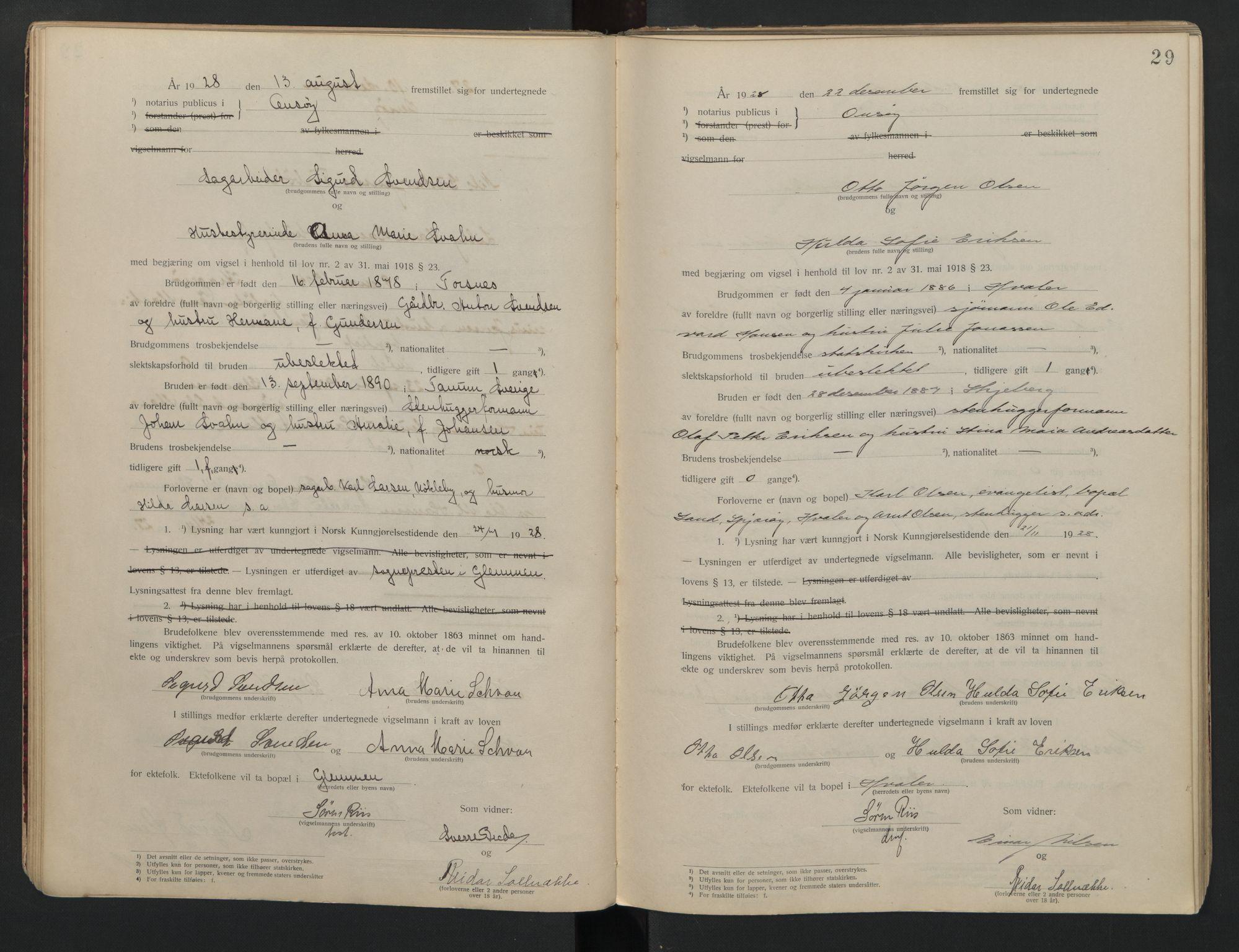 SAO, Onsøy sorenskriveri, L/La/L0001: Vigselsbok, 1920-1942, s. 29