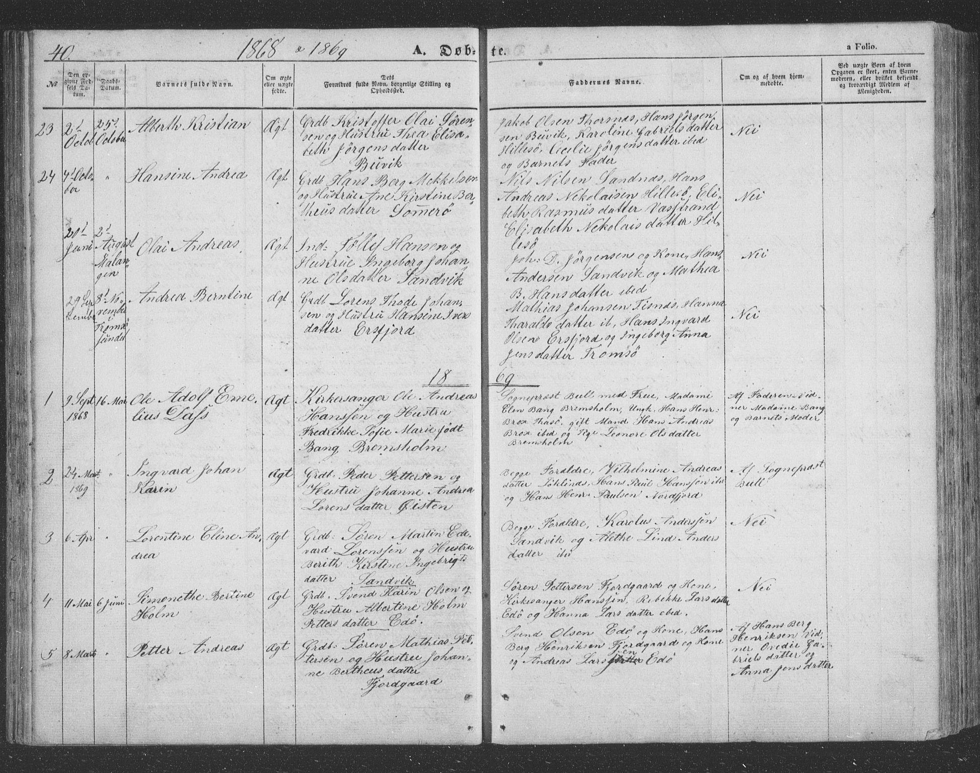 SATØ, Lenvik sokneprestembete, H/Ha/Hab/L0020klokker: Klokkerbok nr. 20, 1855-1883, s. 40