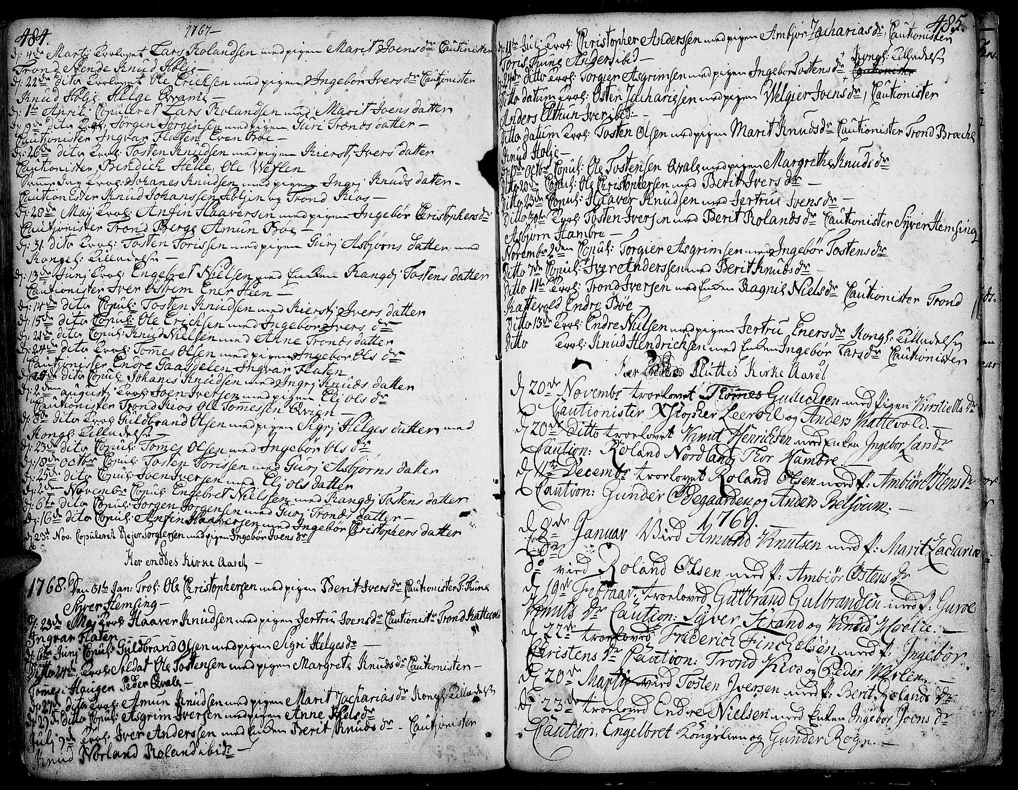 SAH, Vang prestekontor, Valdres, Ministerialbok nr. 1, 1730-1796, s. 484-485