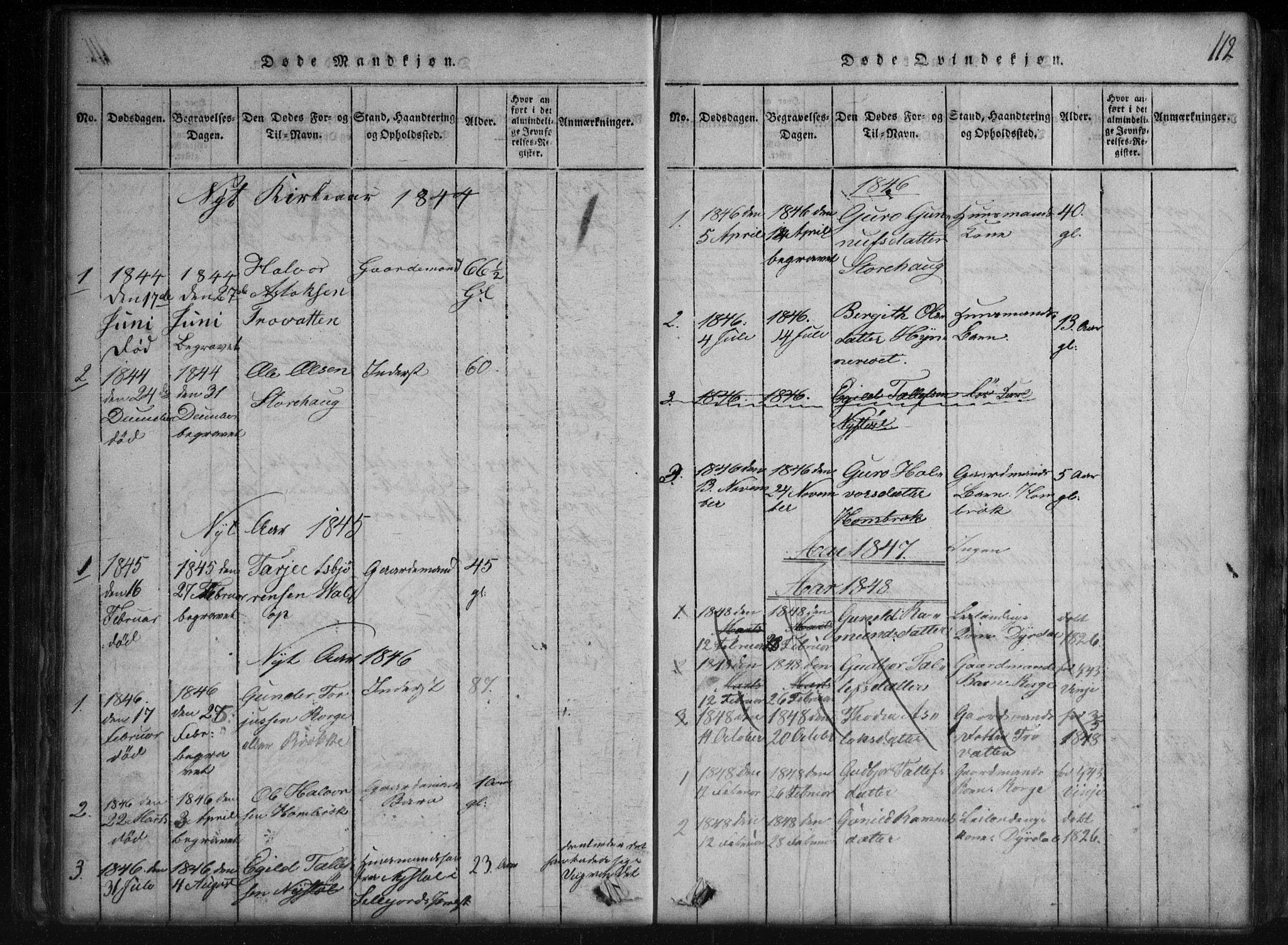 SAKO, Rauland kirkebøker, G/Gb/L0001: Klokkerbok nr. II 1, 1815-1886, s. 112