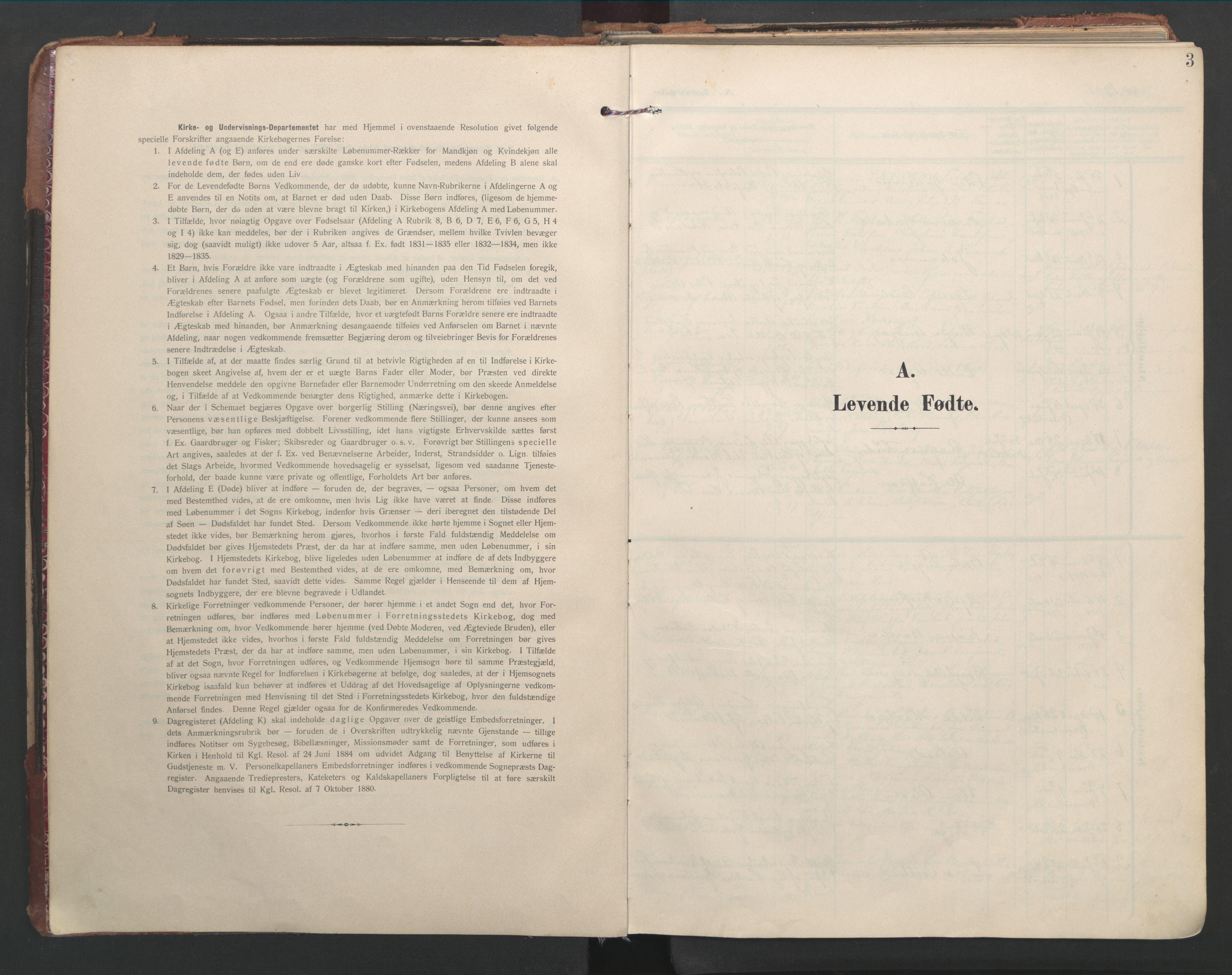 SAT, Ministerialprotokoller, klokkerbøker og fødselsregistre - Nord-Trøndelag, 744/L0421: Ministerialbok nr. 744A05, 1905-1930, s. 3