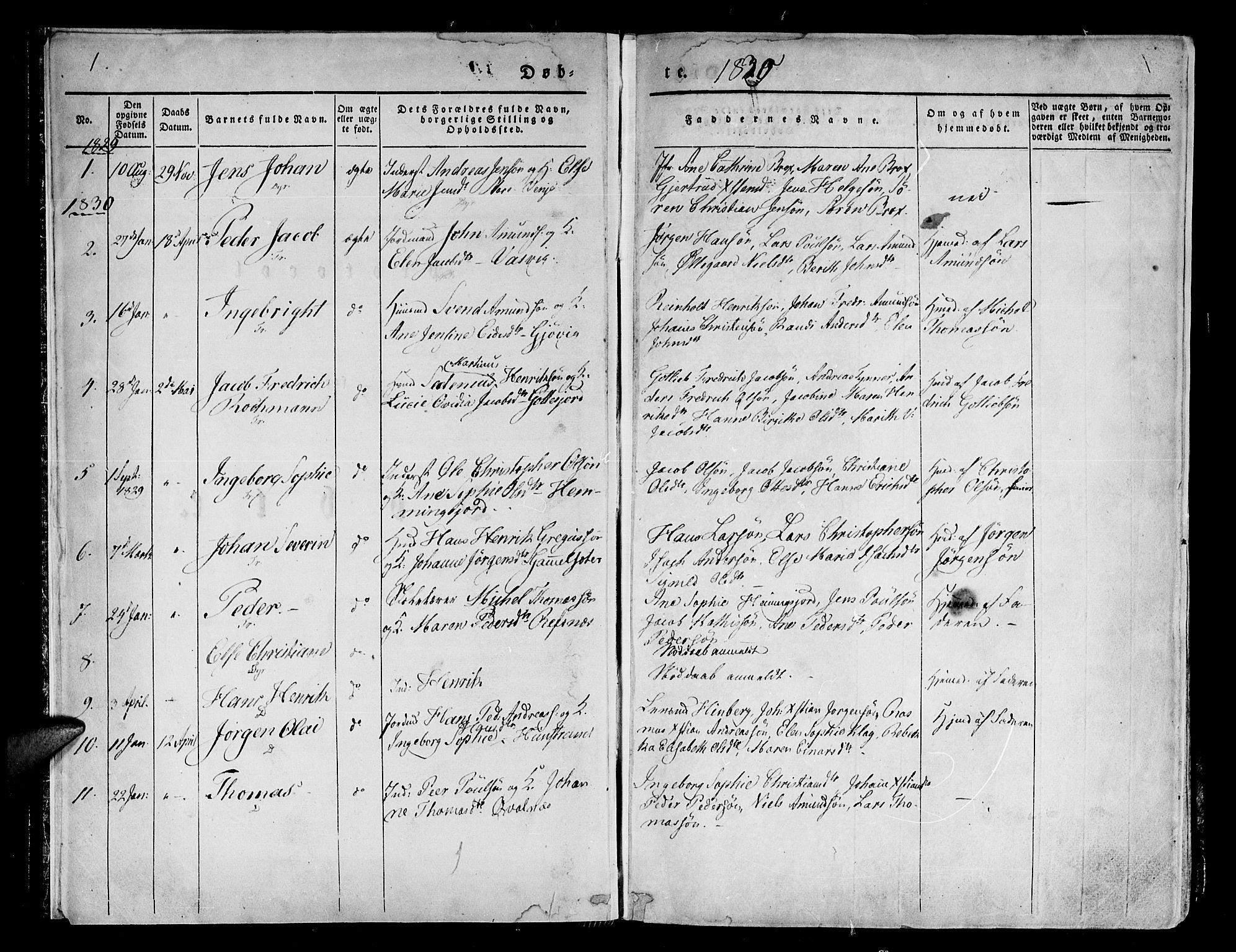 SATØ, Tranøy sokneprestkontor, I/Ia/Iaa/L0005kirke: Ministerialbok nr. 5, 1829-1844, s. 1