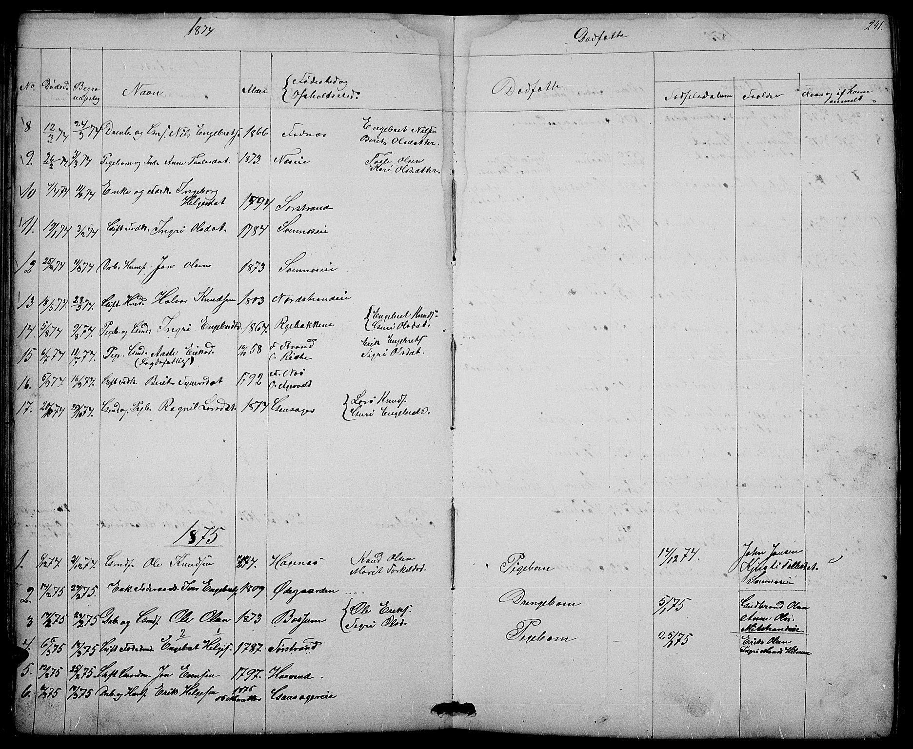 SAH, Nord-Aurdal prestekontor, Klokkerbok nr. 3, 1842-1882, s. 241