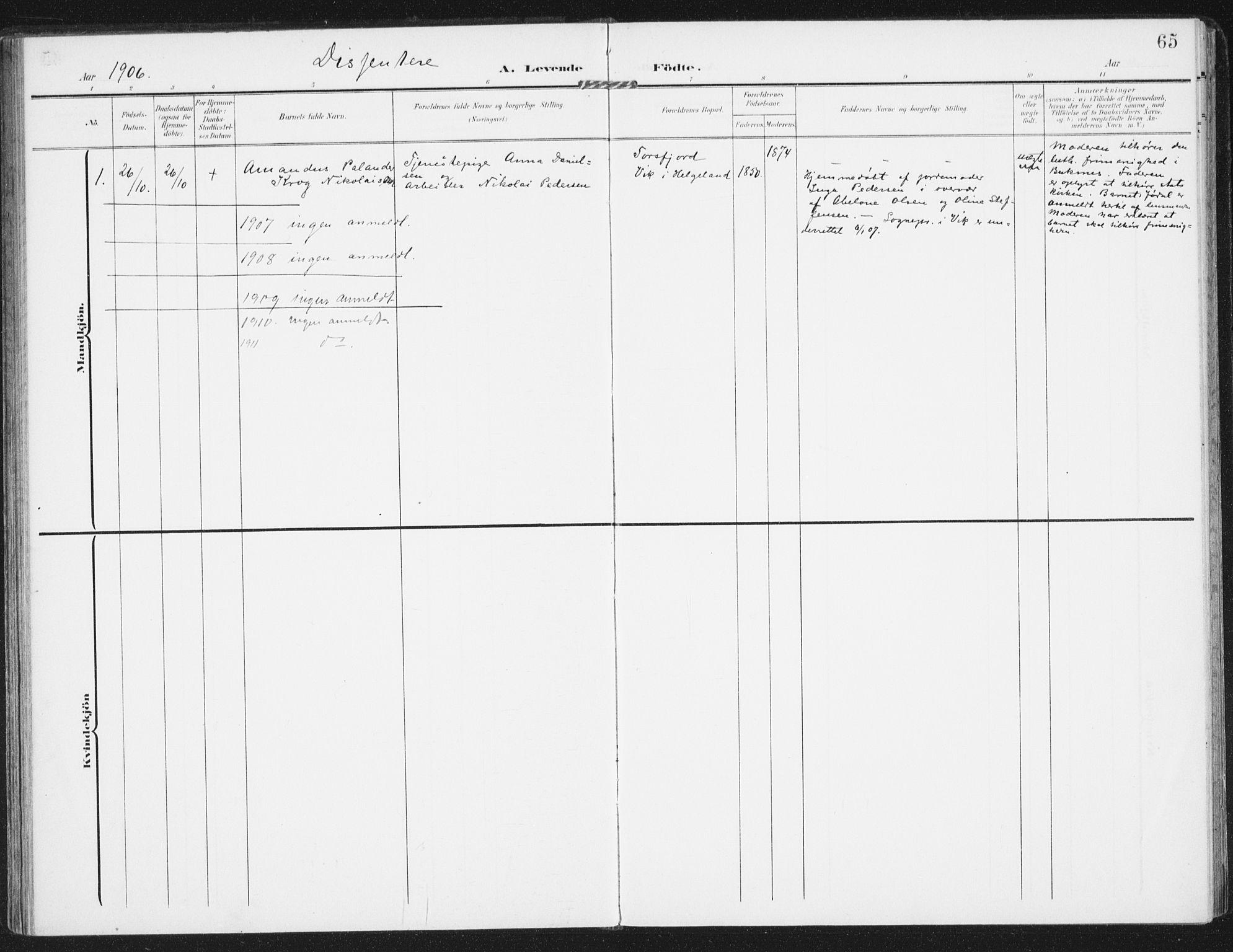 SAT, Ministerialprotokoller, klokkerbøker og fødselsregistre - Nordland, 885/L1206: Ministerialbok nr. 885A07, 1905-1915, s. 65