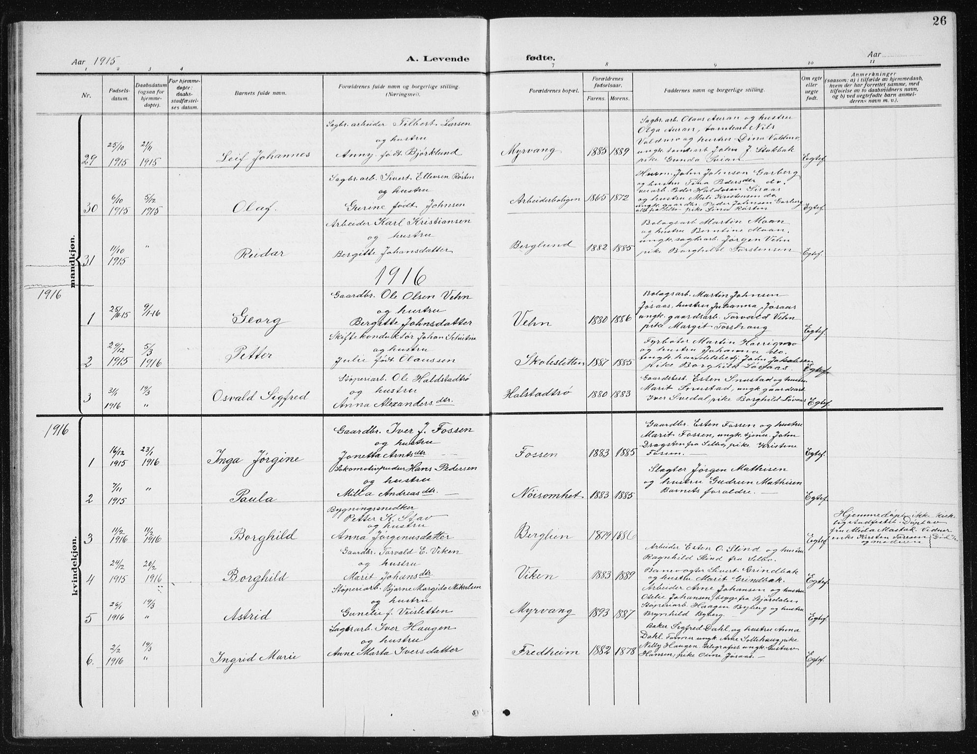 SAT, Ministerialprotokoller, klokkerbøker og fødselsregistre - Sør-Trøndelag, 617/L0431: Klokkerbok nr. 617C02, 1910-1936, s. 26