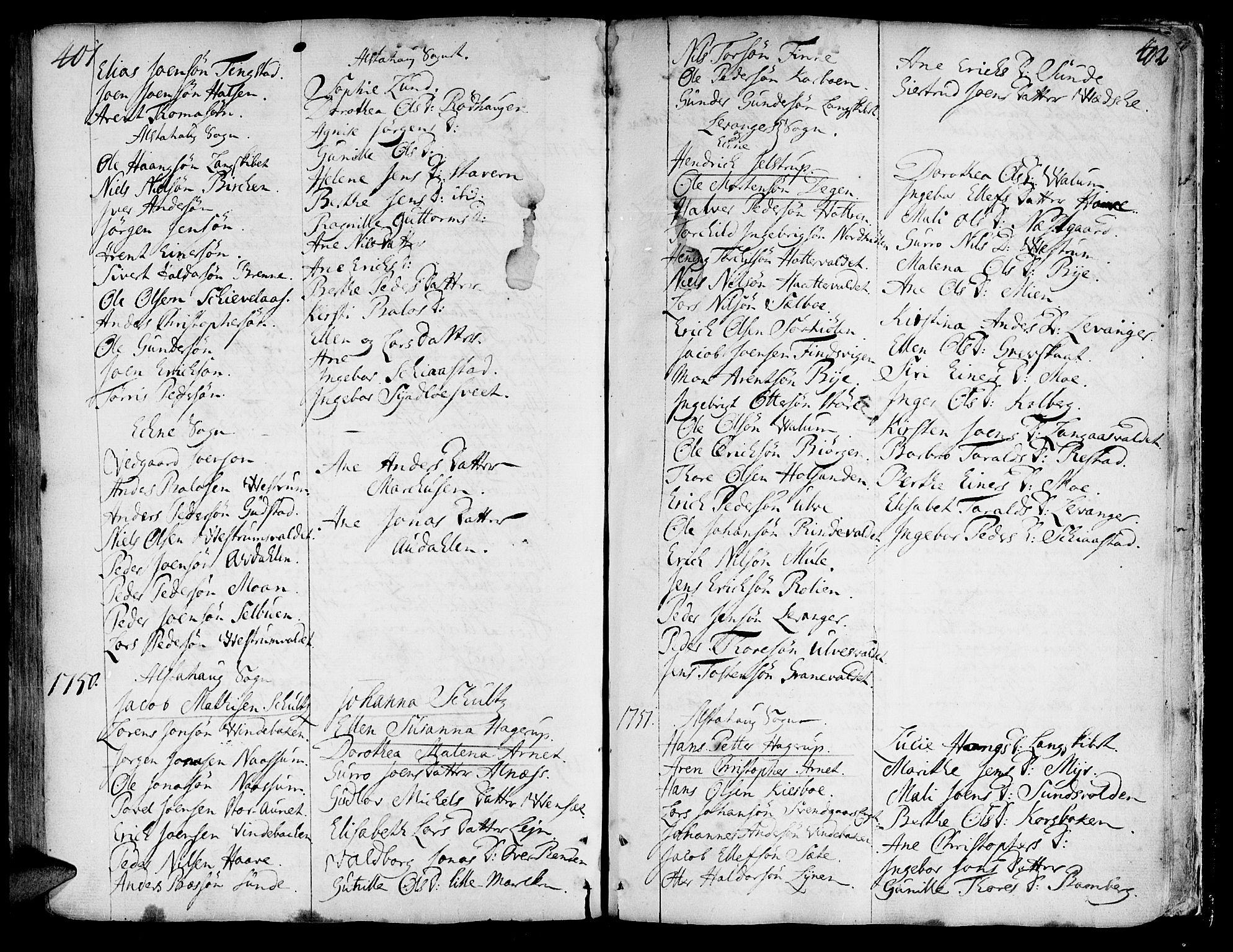 SAT, Ministerialprotokoller, klokkerbøker og fødselsregistre - Nord-Trøndelag, 717/L0141: Ministerialbok nr. 717A01, 1747-1803, s. 401-402