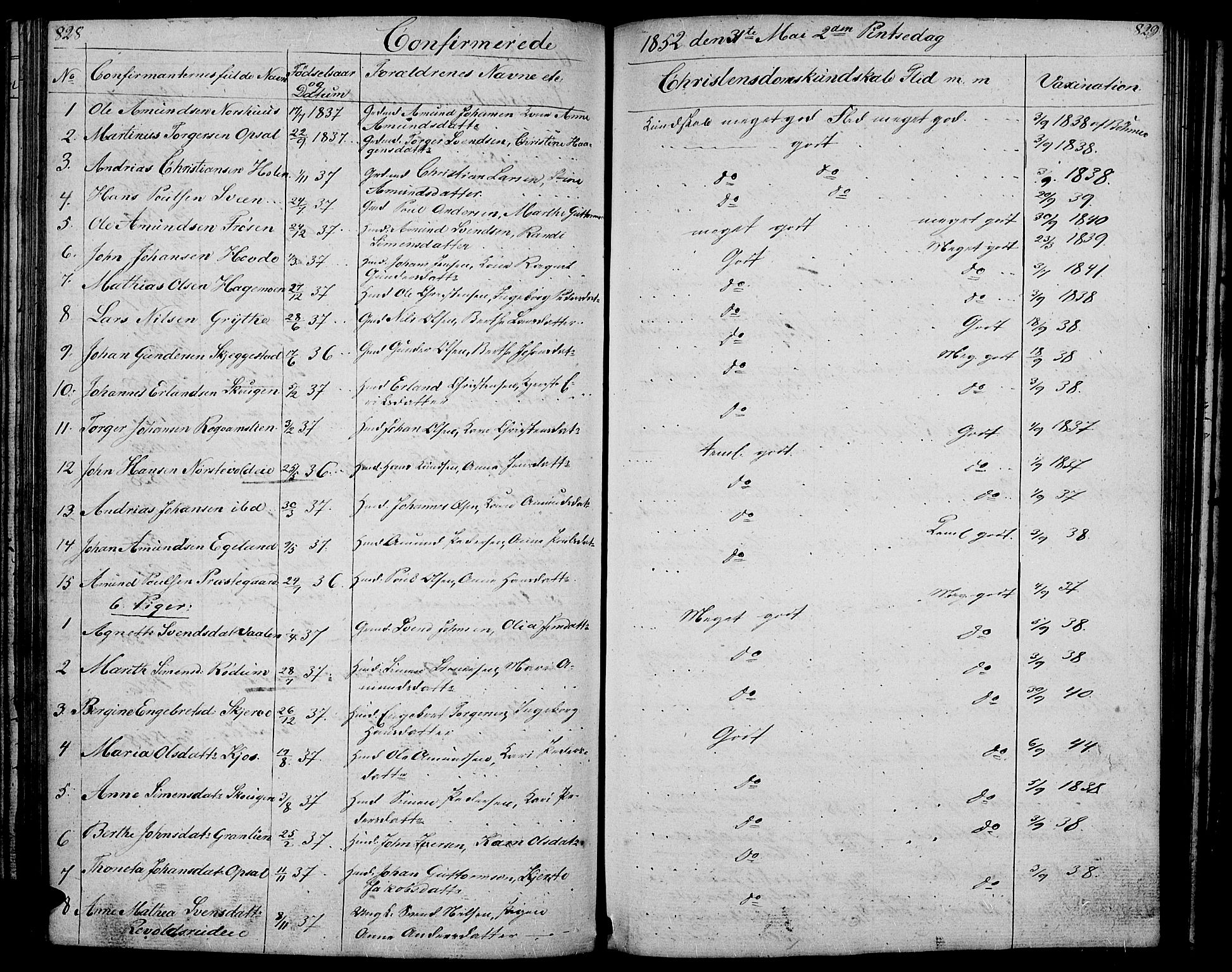 SAH, Gausdal prestekontor, Klokkerbok nr. 4, 1835-1870, s. 828-829