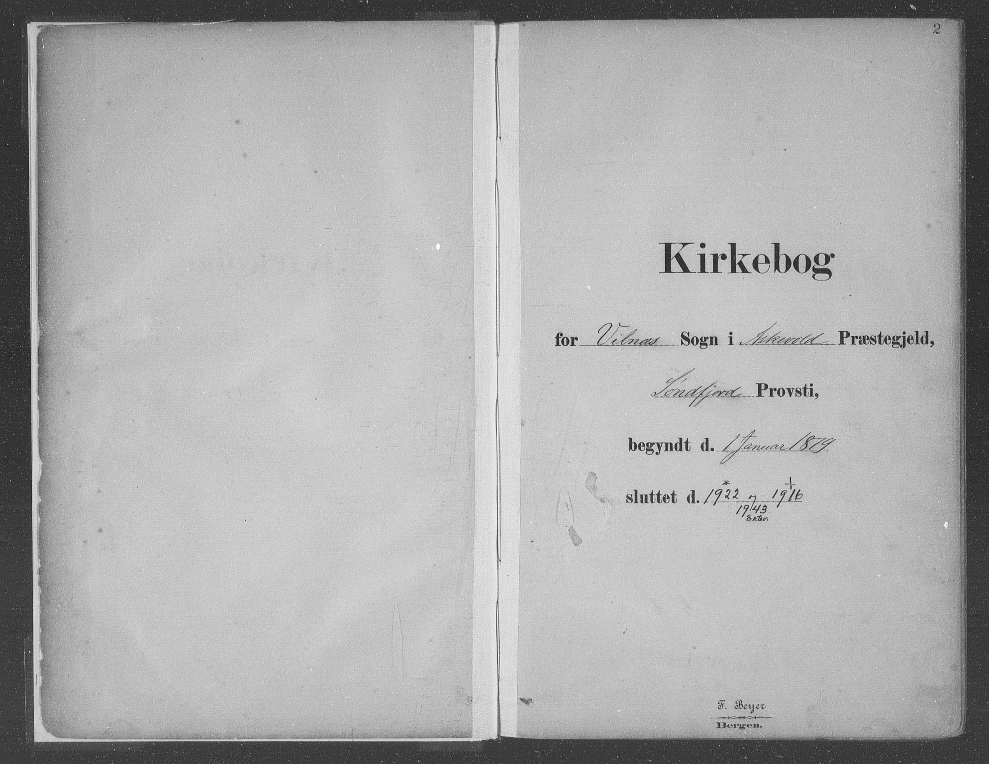 SAB, Askvoll Sokneprestembete, Ministerialbok nr. C  1, 1879-1922, s. 2