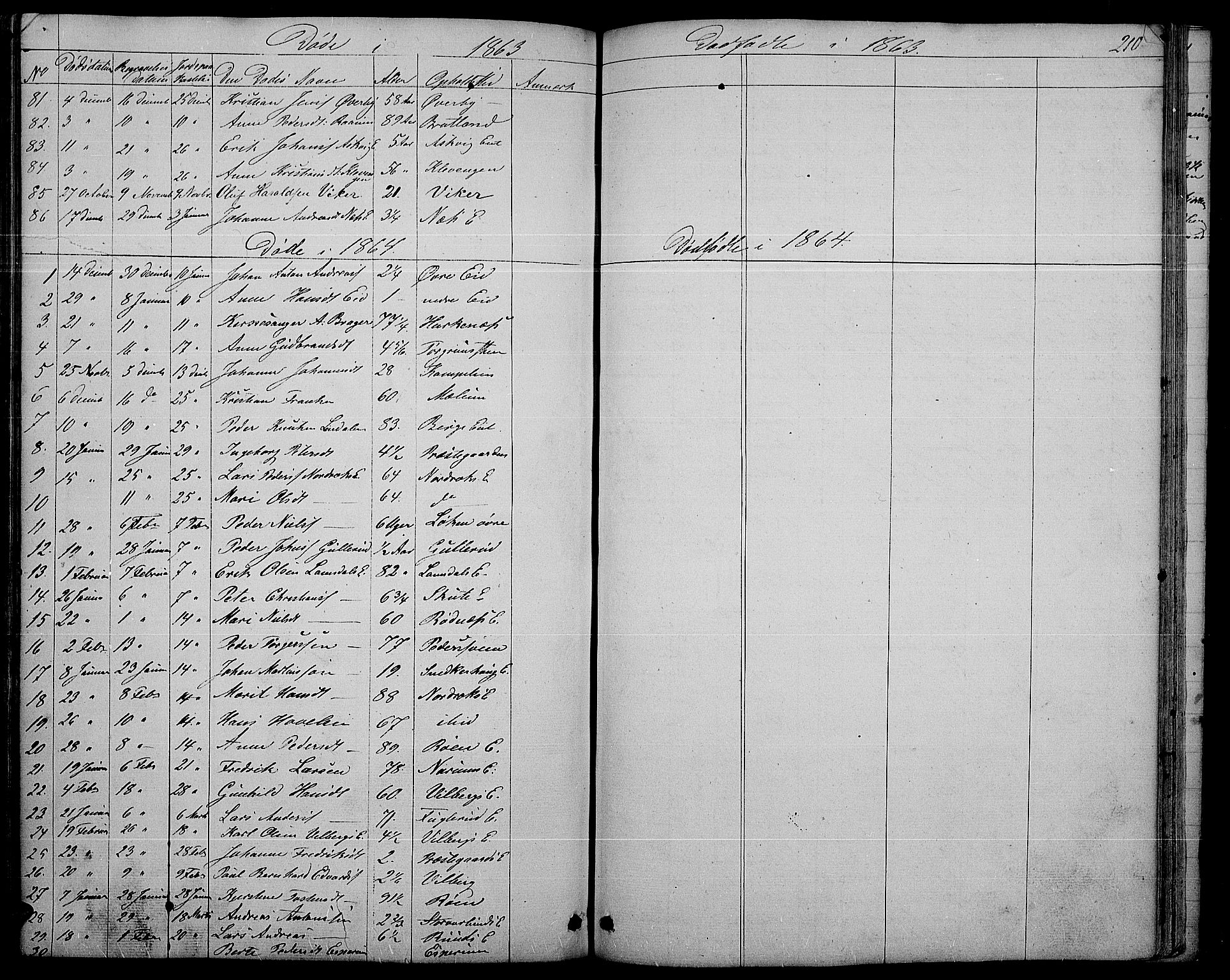 SAH, Søndre Land prestekontor, L/L0001: Klokkerbok nr. 1, 1849-1883, s. 210