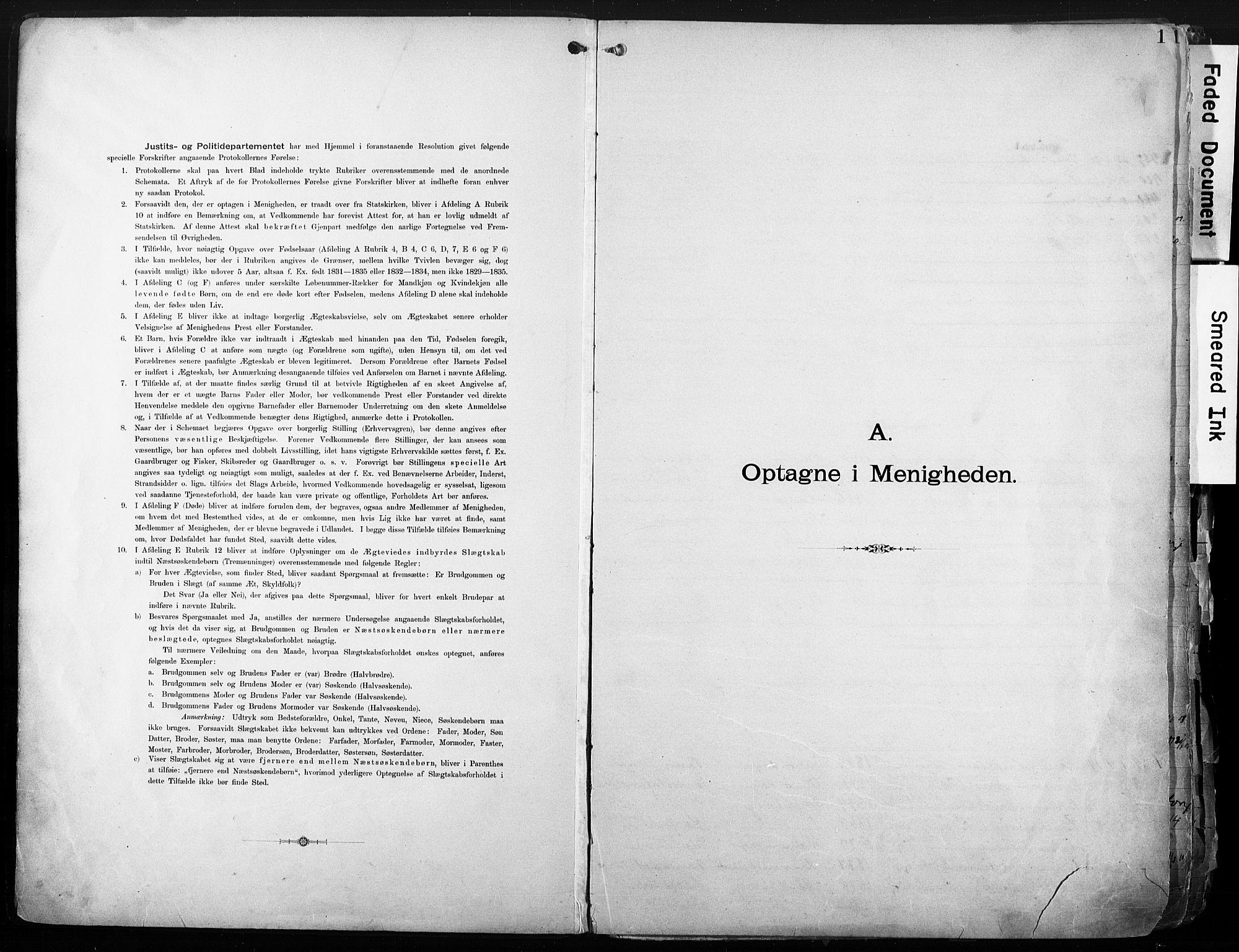 SAO, Sarpsborg metodistkirke, A/L0004: Dissenterprotokoll nr. 4, 1892-1923, s. 1