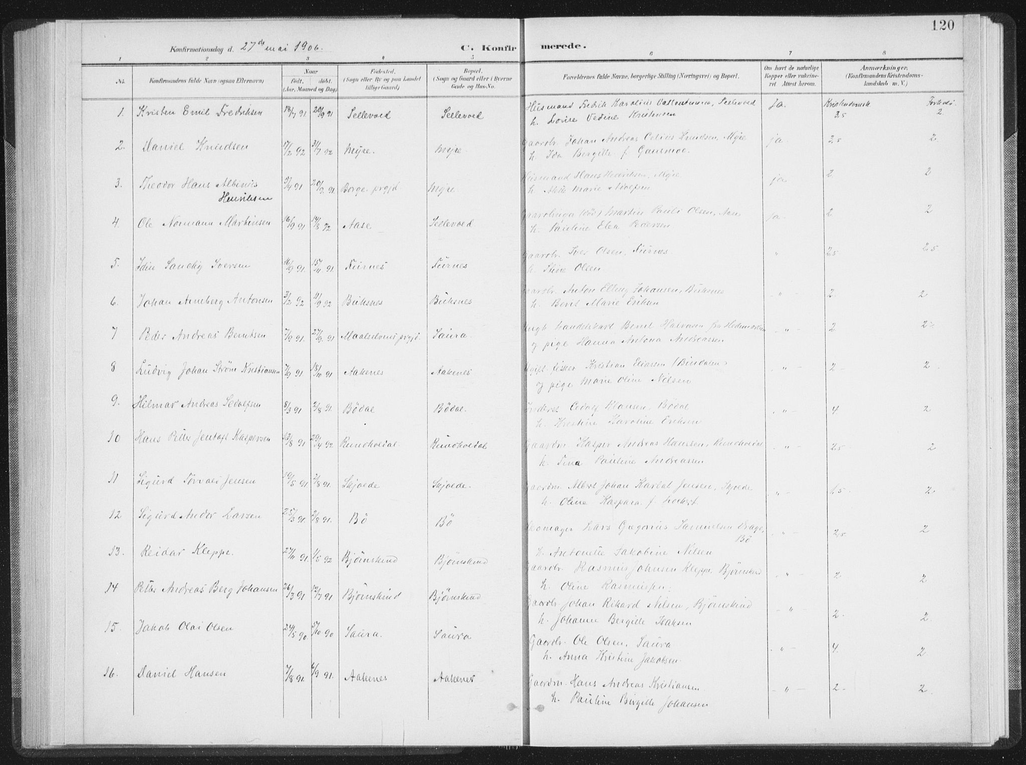 SAT, Ministerialprotokoller, klokkerbøker og fødselsregistre - Nordland, 897/L1400: Ministerialbok nr. 897A07, 1897-1908, s. 120