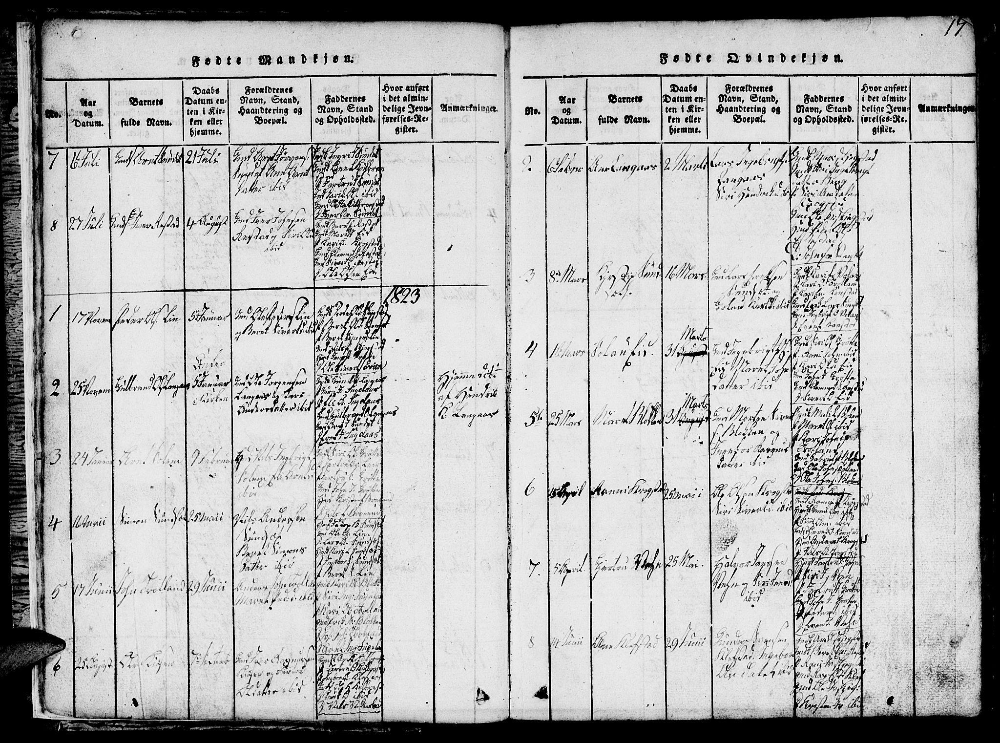 SAT, Ministerialprotokoller, klokkerbøker og fødselsregistre - Sør-Trøndelag, 694/L1130: Klokkerbok nr. 694C02, 1816-1857, s. 17