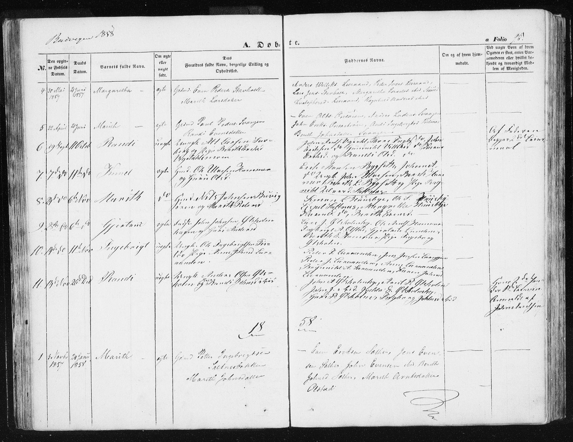 SAT, Ministerialprotokoller, klokkerbøker og fødselsregistre - Sør-Trøndelag, 612/L0376: Ministerialbok nr. 612A08, 1846-1859, s. 95