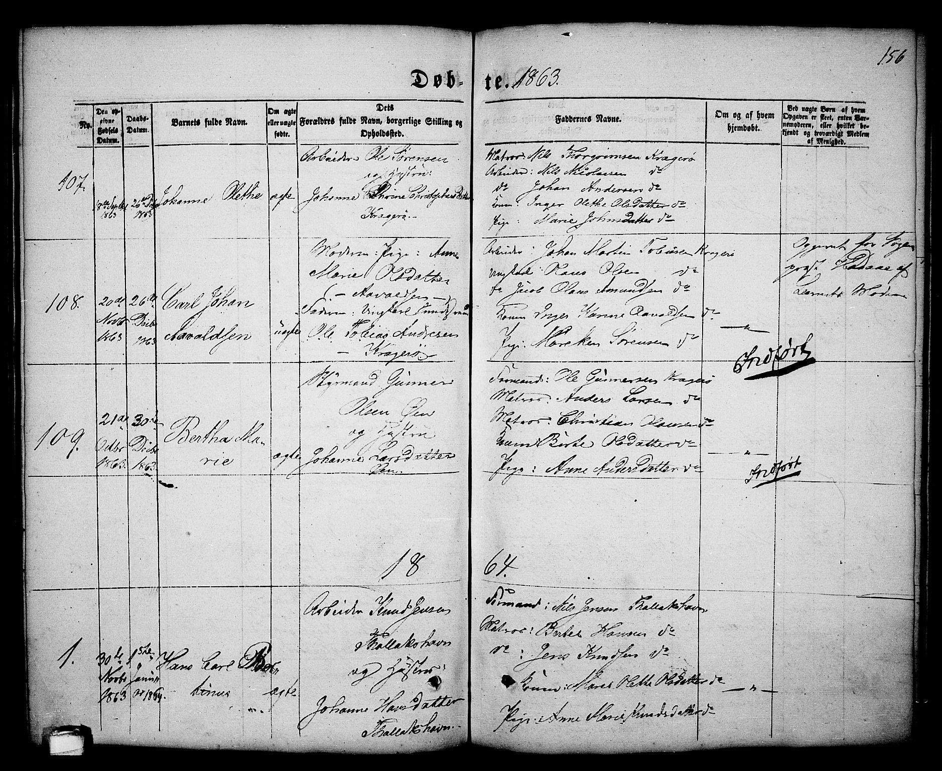 SAKO, Kragerø kirkebøker, G/Ga/L0004: Klokkerbok nr. 4, 1853-1865, s. 156