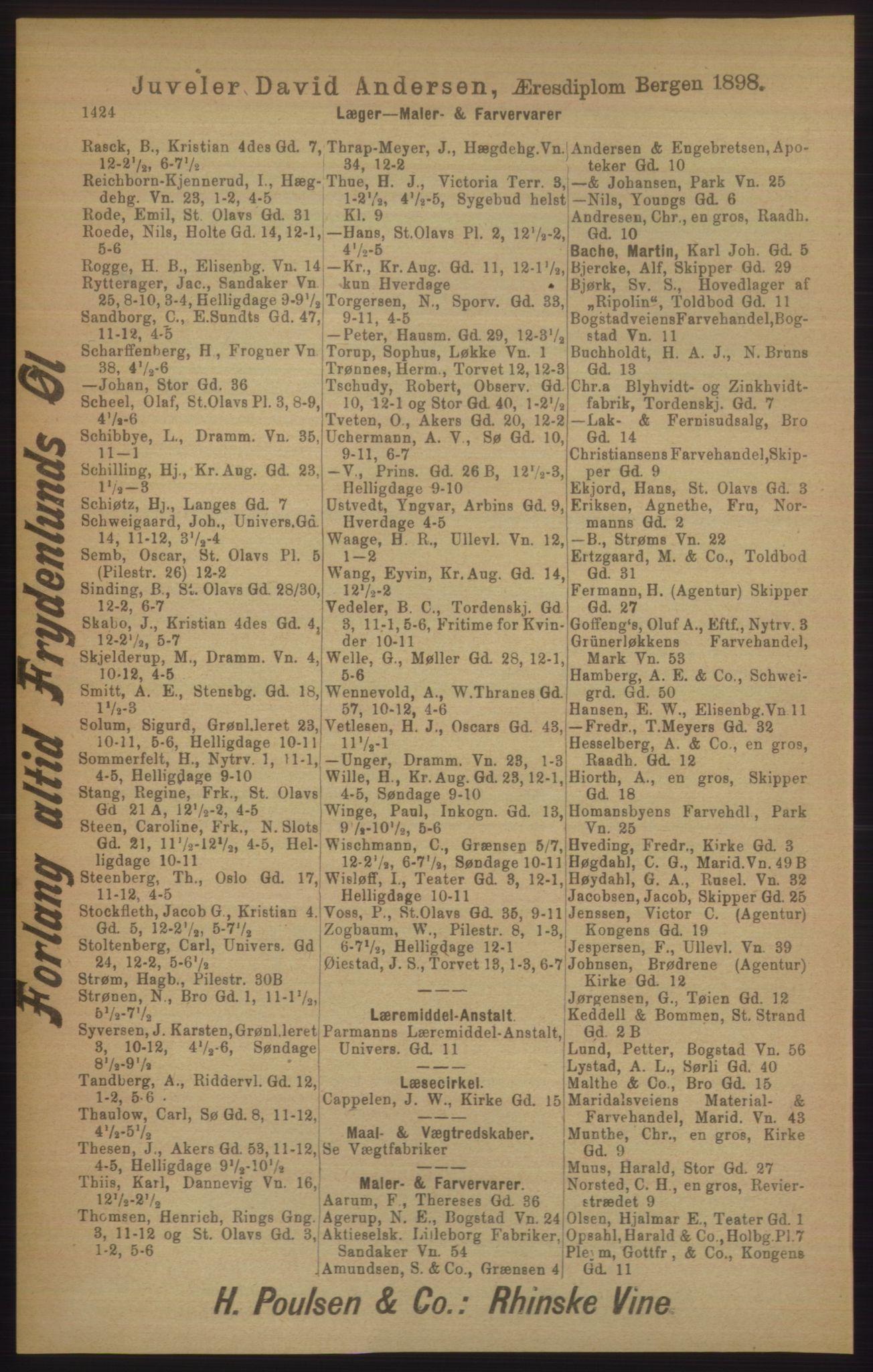 RA, Kristiania adressebok (publikasjon)*, 1906, s. 1424