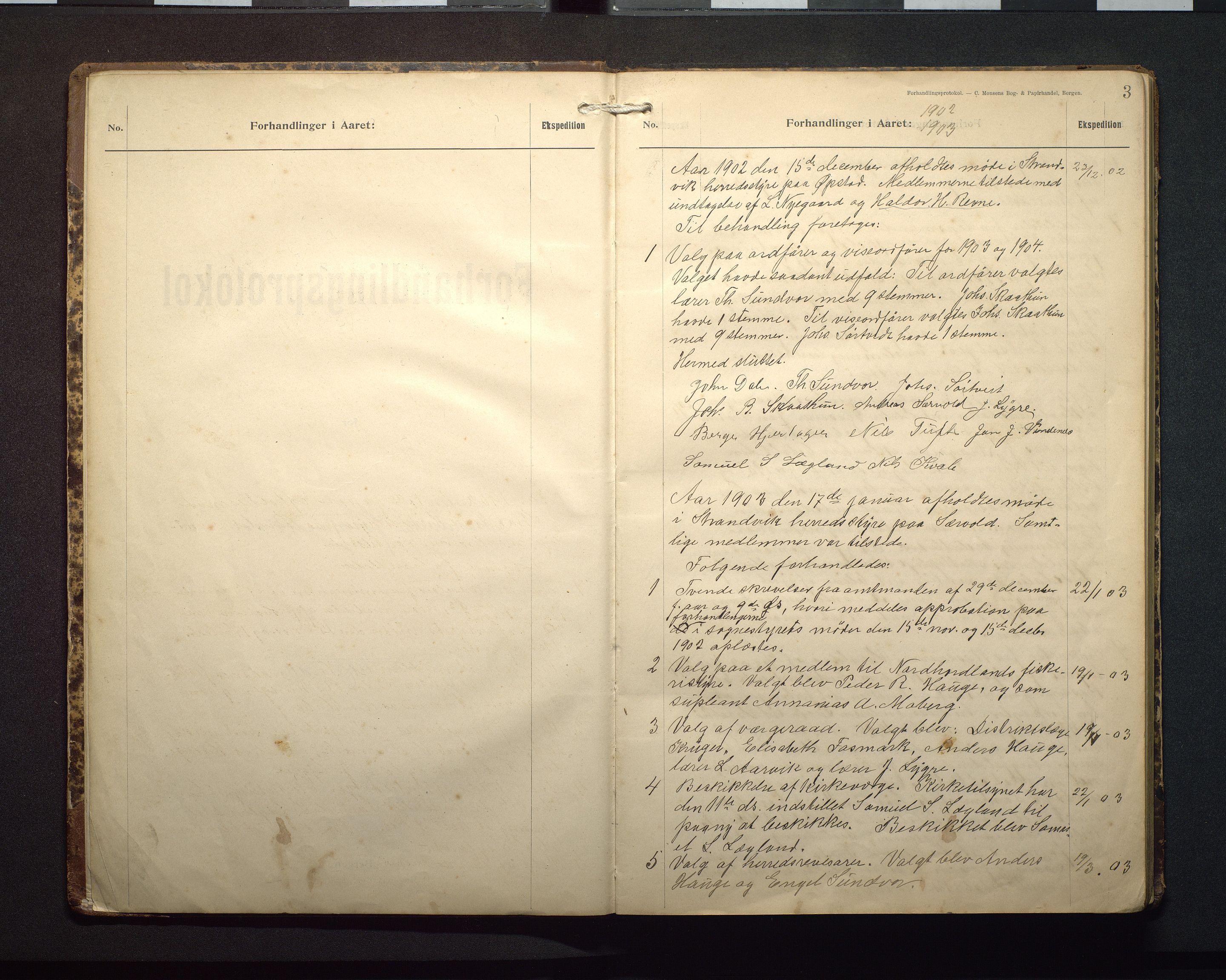 IKAH, Strandvik kommune. Formannskapet, A/Aa/L0001: Møtebok, 1902-1912, s. 3