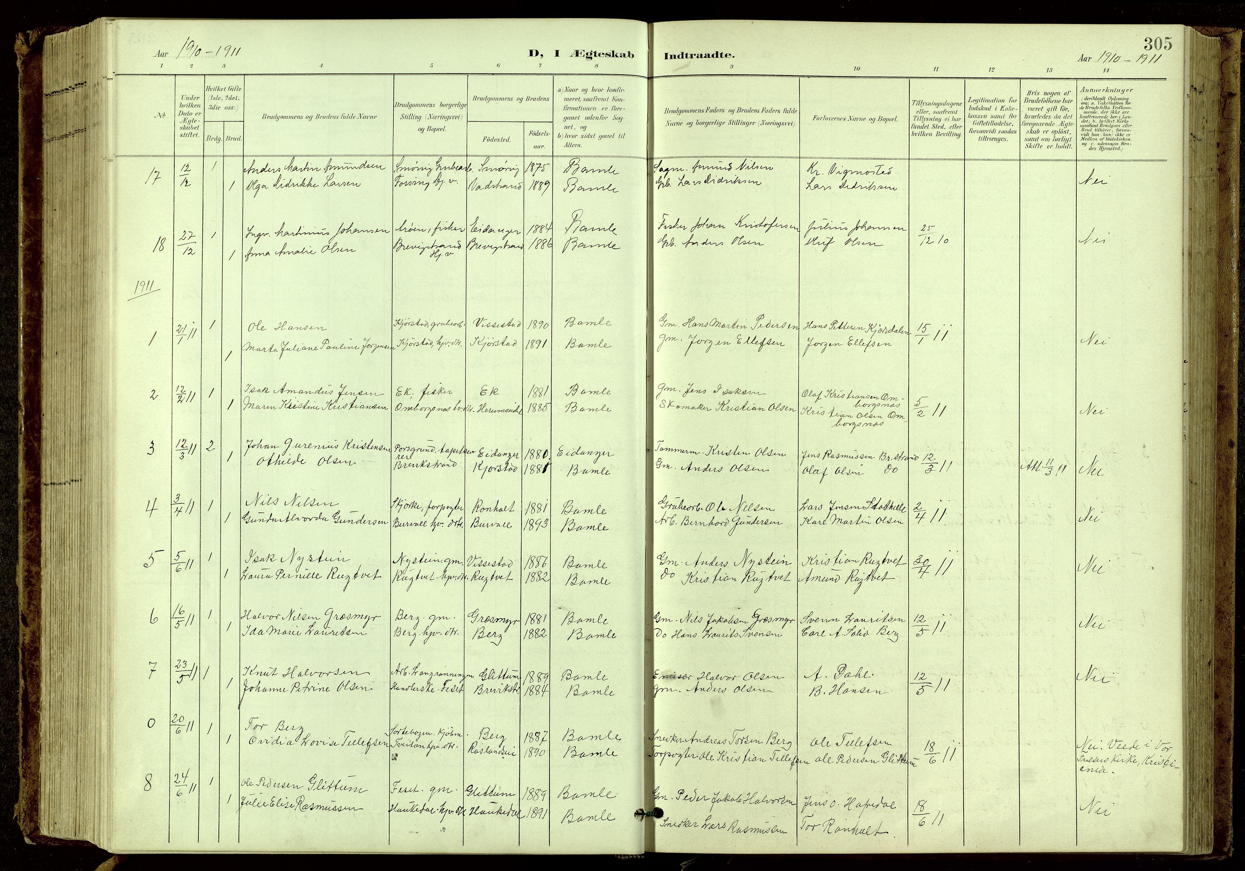 SAKO, Bamble kirkebøker, G/Ga/L0010: Klokkerbok nr. I 10, 1901-1919, s. 305