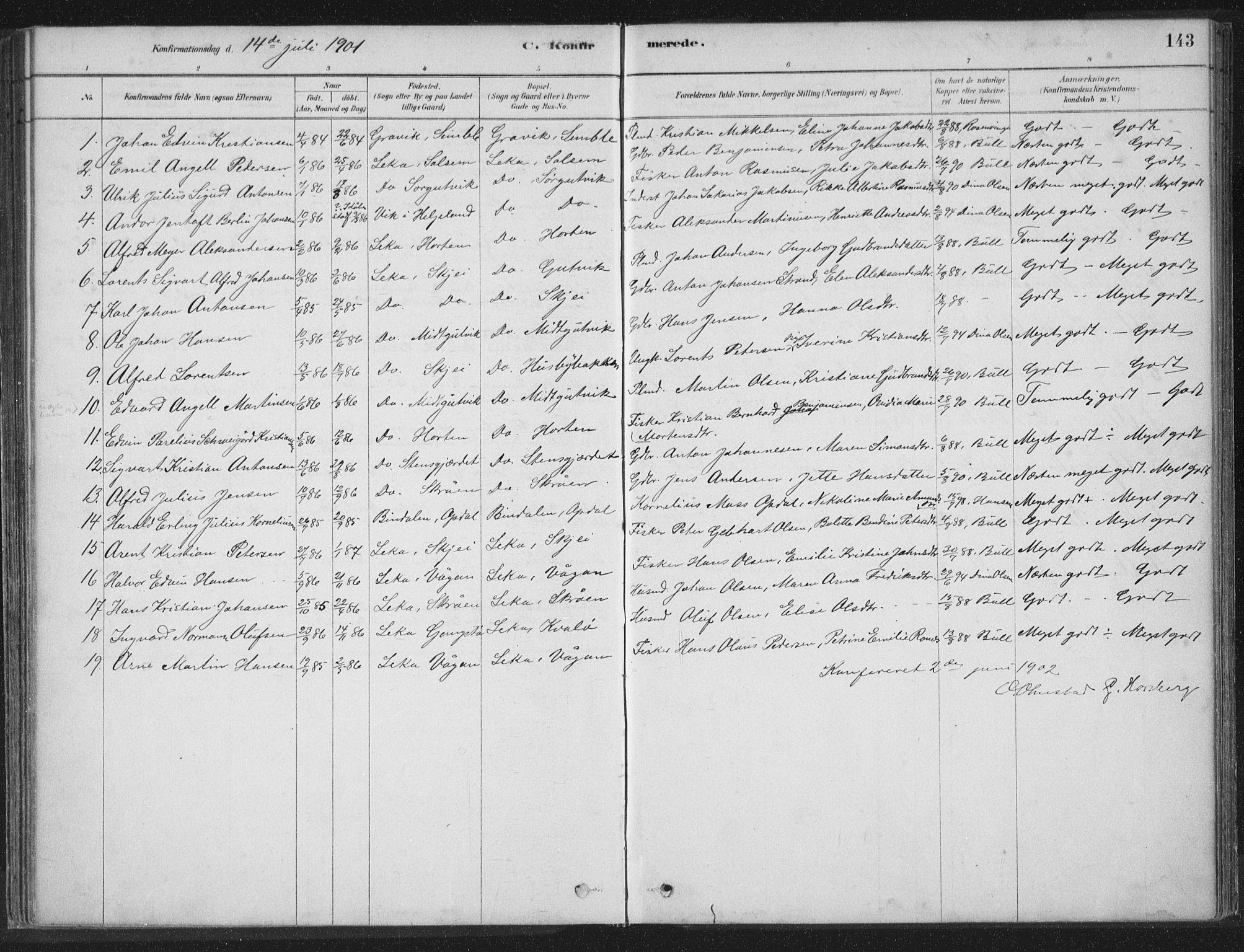 SAT, Ministerialprotokoller, klokkerbøker og fødselsregistre - Nord-Trøndelag, 788/L0697: Ministerialbok nr. 788A04, 1878-1902, s. 143