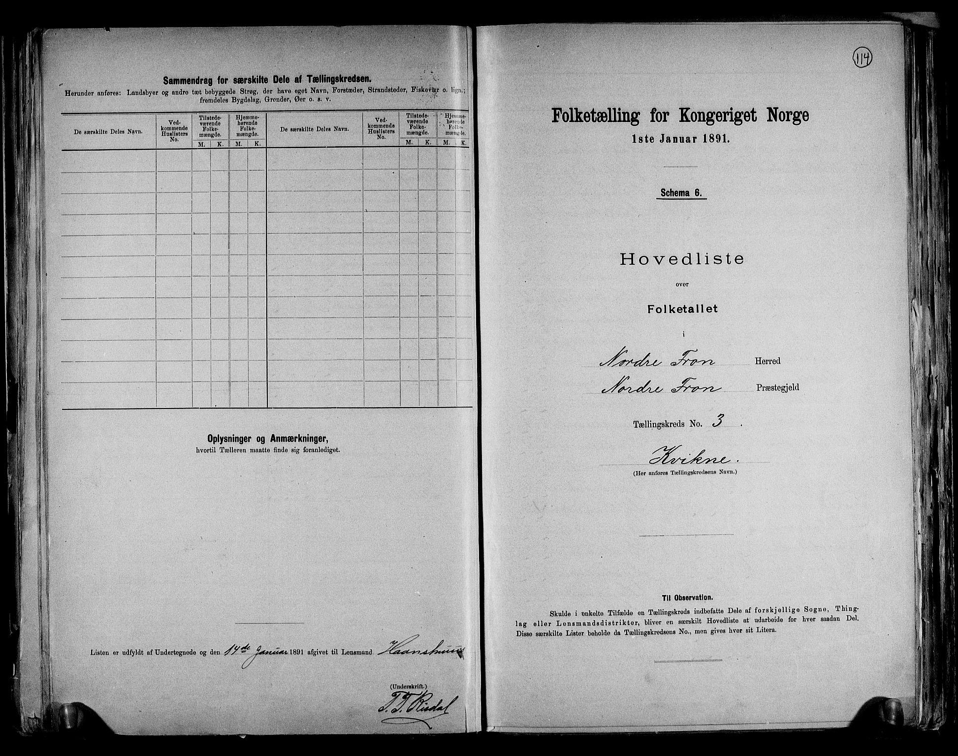 RA, Folketelling 1891 for 0518 Nord-Fron herred, 1891, s. 9