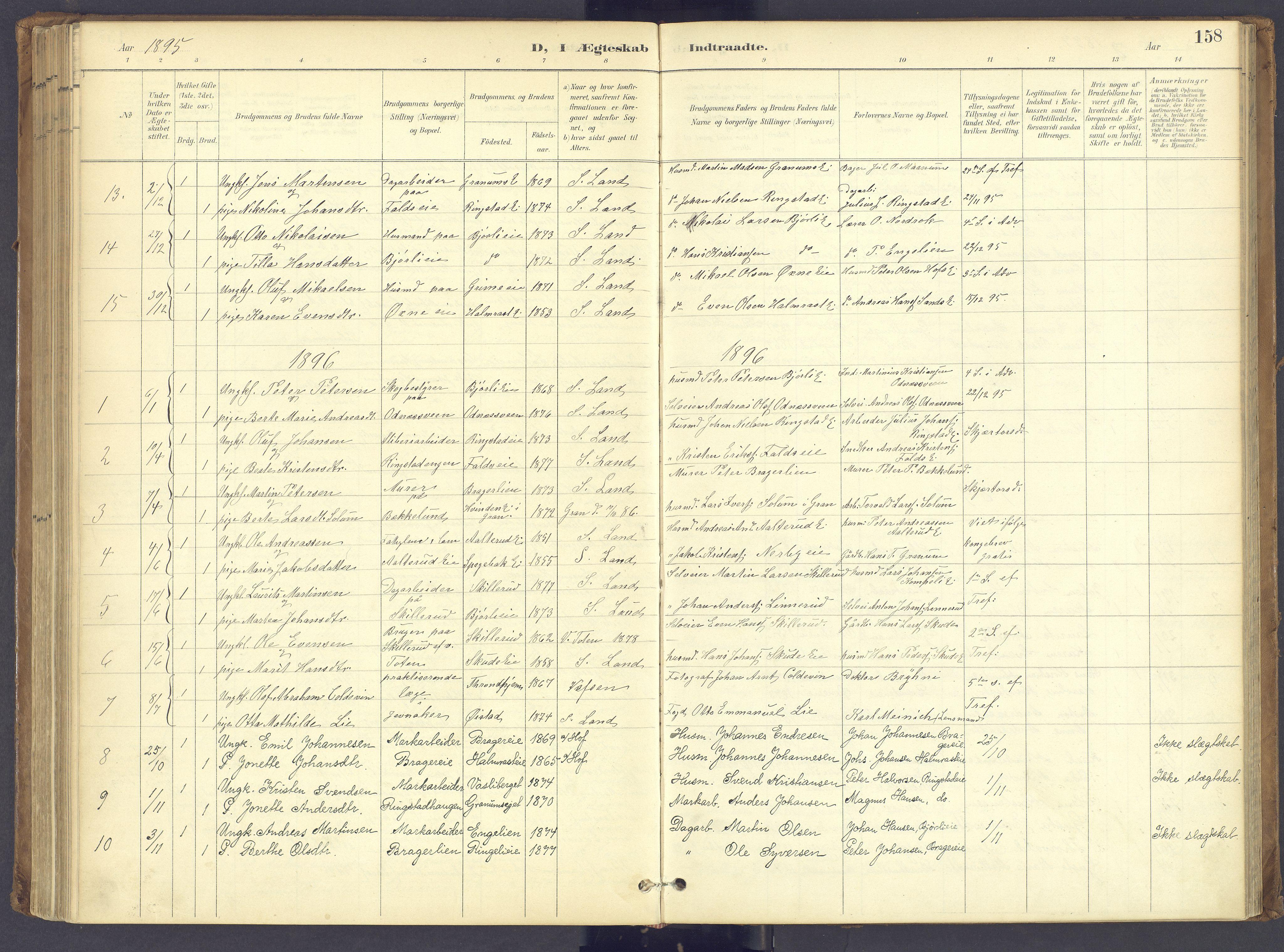 SAH, Søndre Land prestekontor, K/L0006: Ministerialbok nr. 6, 1895-1904, s. 158