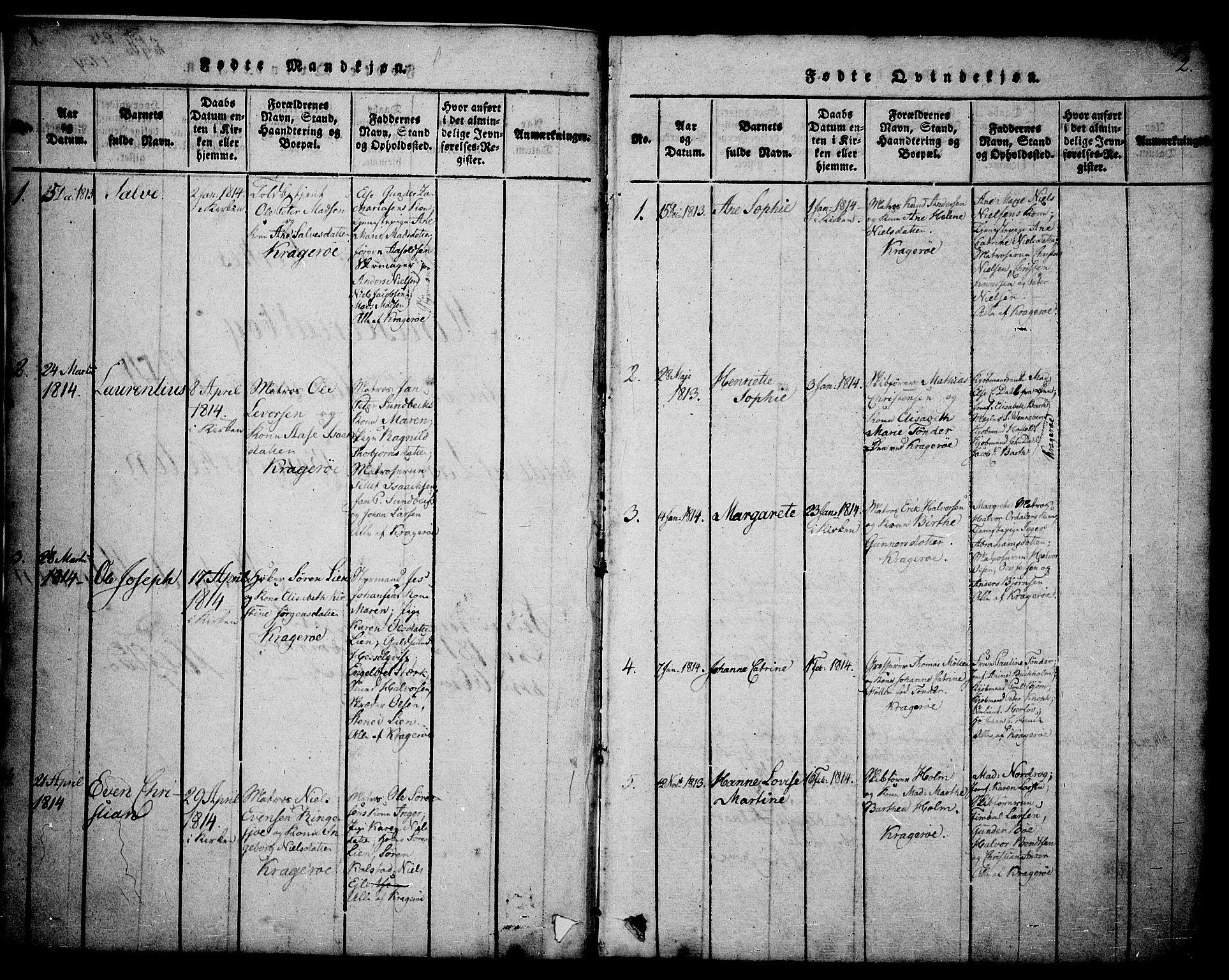 SAKO, Kragerø kirkebøker, G/Ga/L0002: Klokkerbok nr. 2, 1814-1831, s. 2
