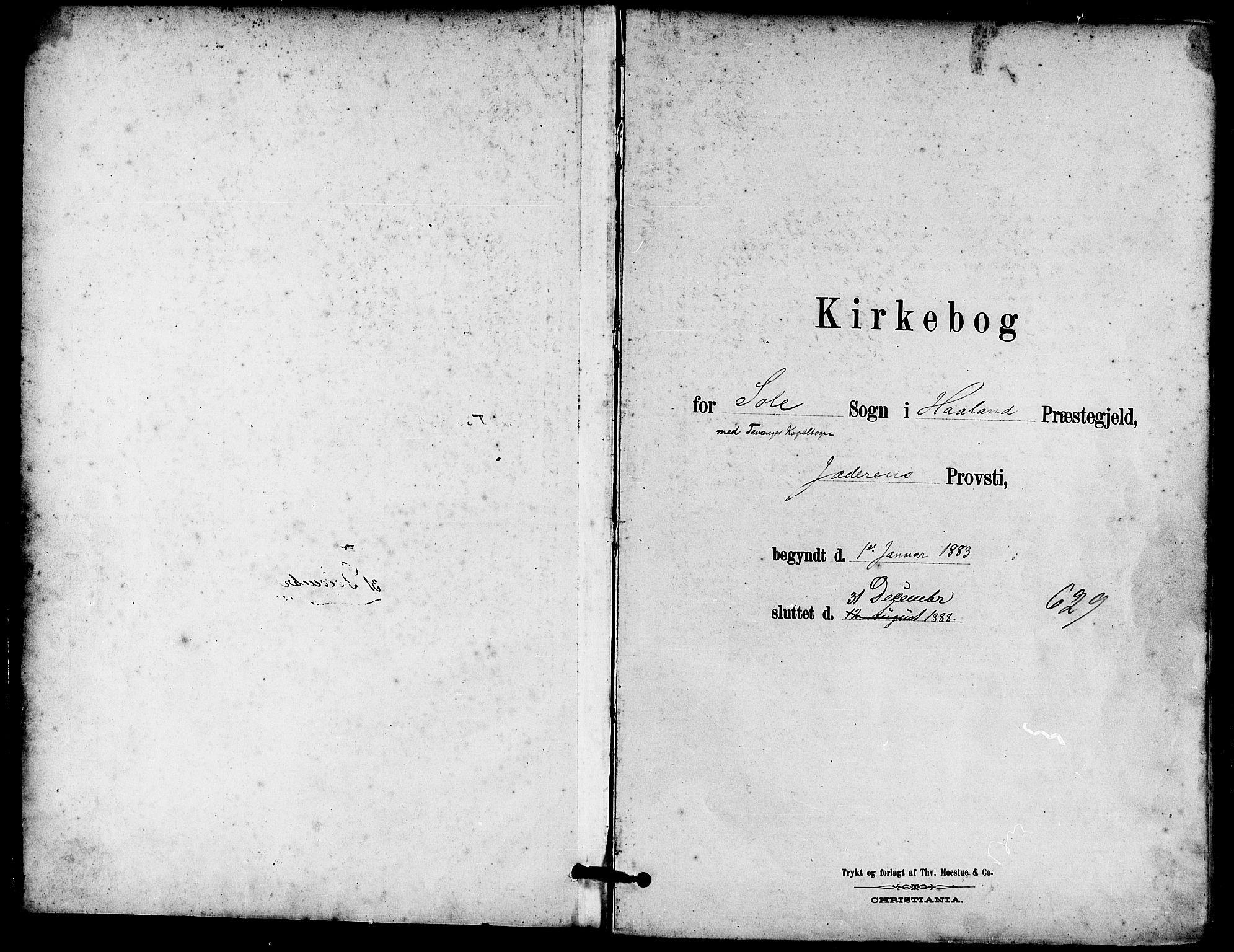SAST, Håland sokneprestkontor, 30BA/L0010: Ministerialbok nr. A 9, 1883-1888