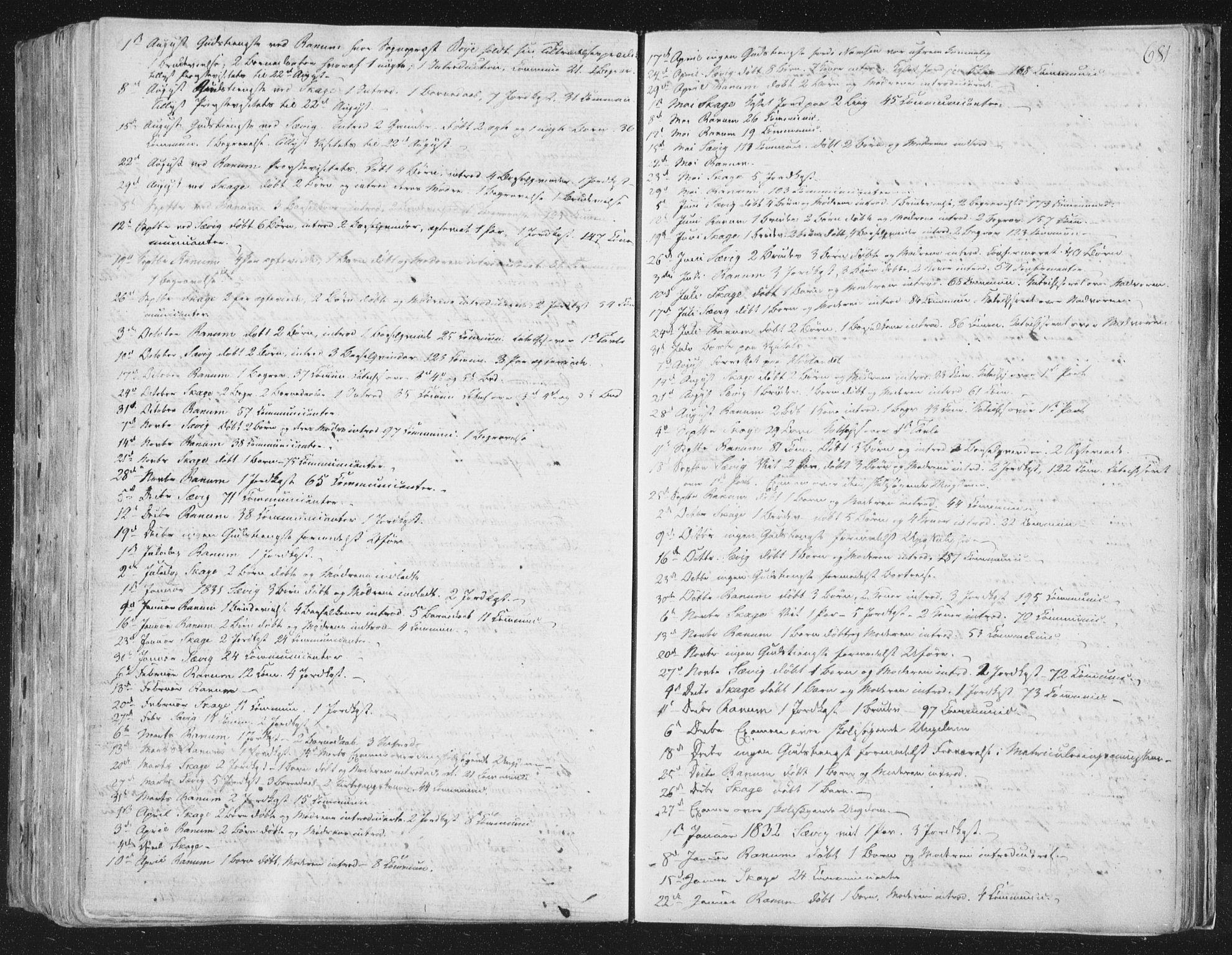 SAT, Ministerialprotokoller, klokkerbøker og fødselsregistre - Nord-Trøndelag, 764/L0552: Ministerialbok nr. 764A07b, 1824-1865, s. 681