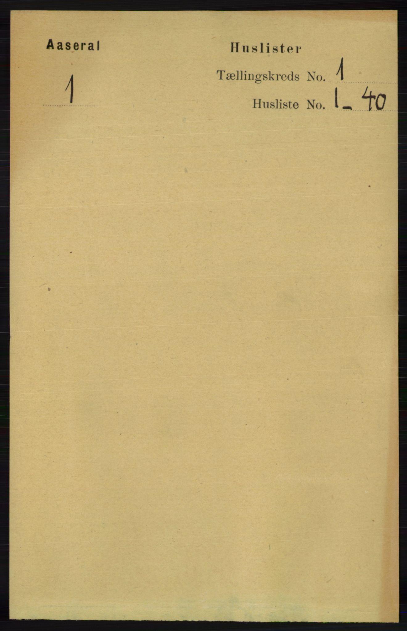 RA, Folketelling 1891 for 1026 Åseral herred, 1891, s. 15