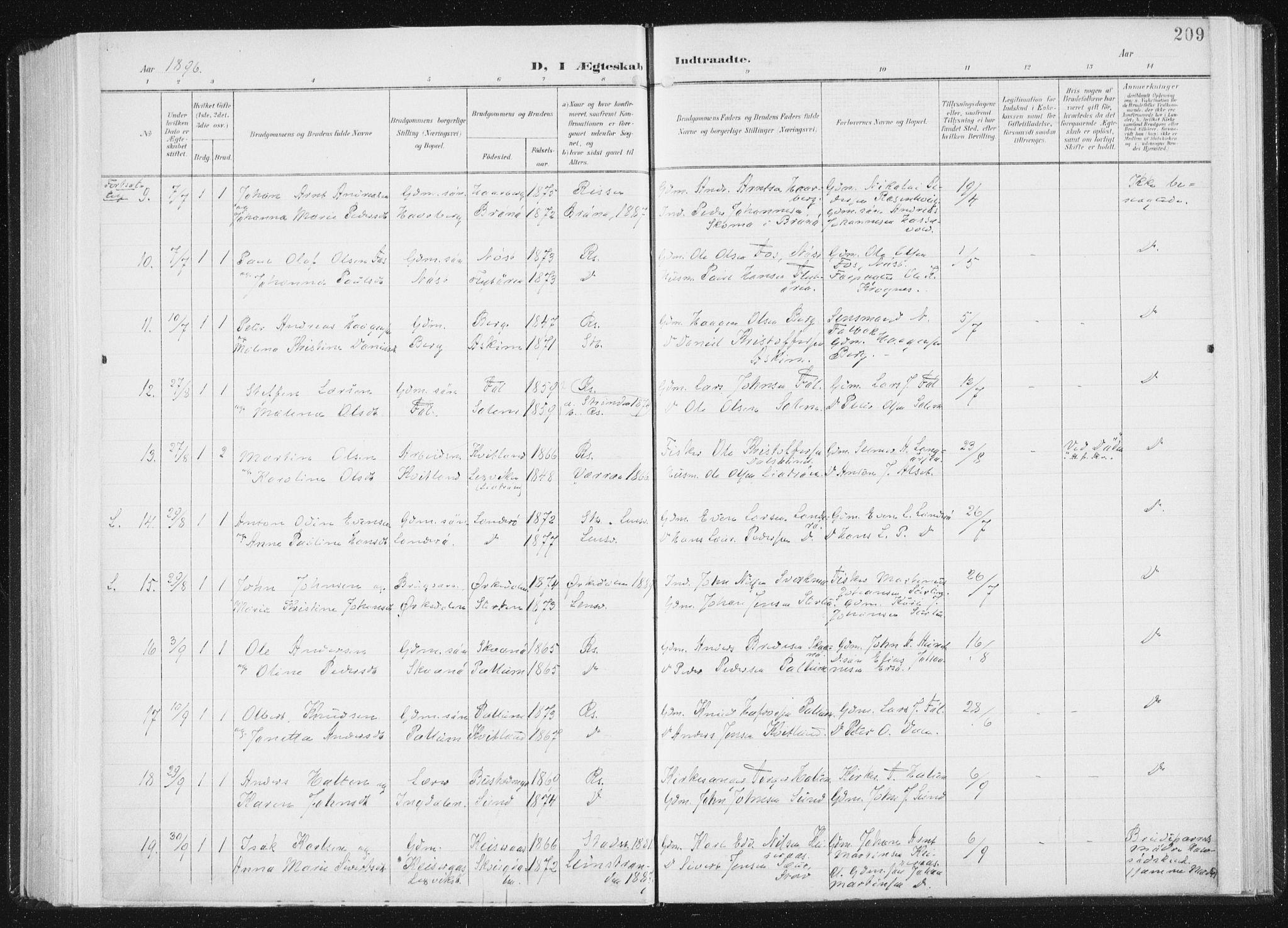 SAT, Ministerialprotokoller, klokkerbøker og fødselsregistre - Sør-Trøndelag, 647/L0635: Ministerialbok nr. 647A02, 1896-1911, s. 209