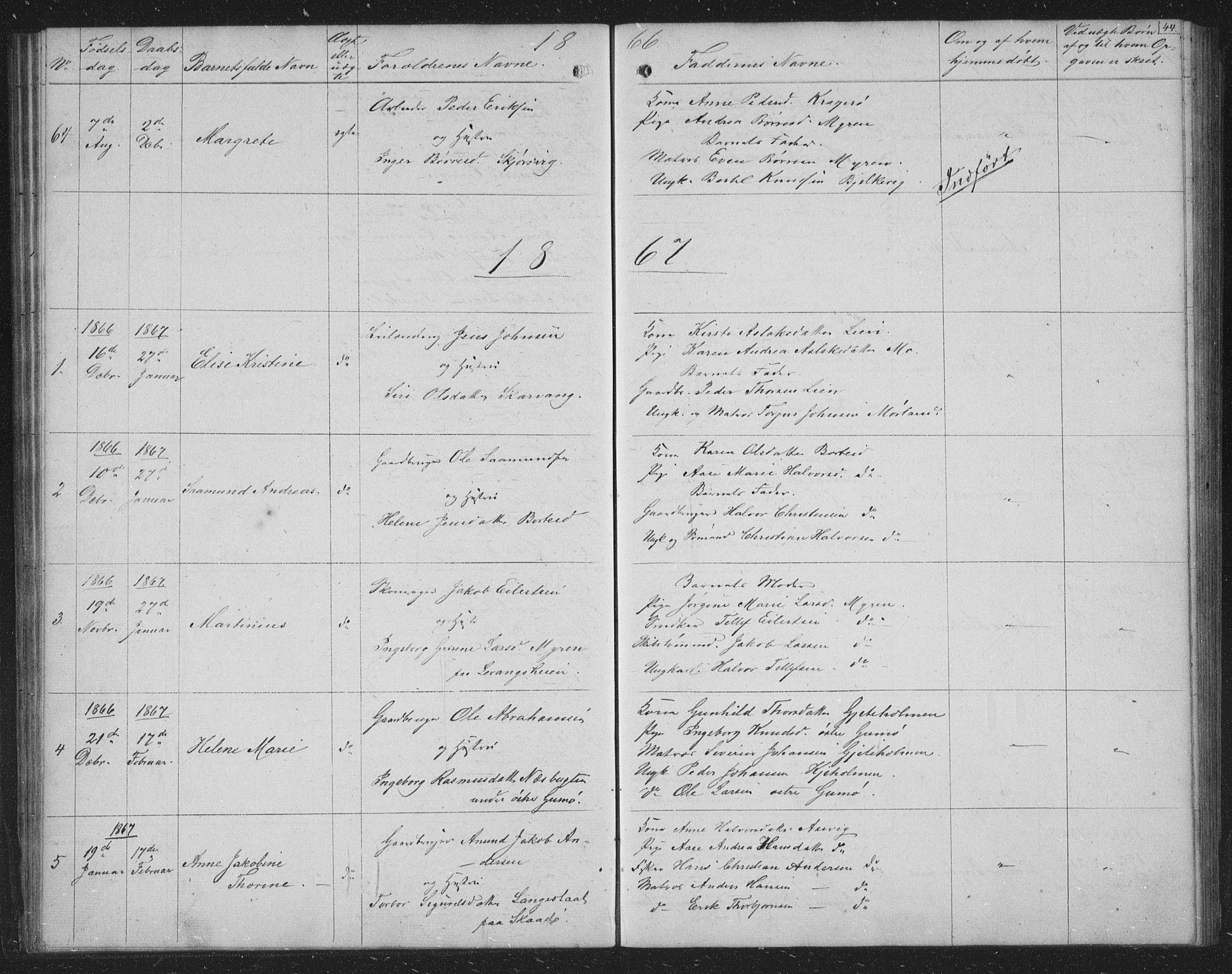 SAKO, Skåtøy kirkebøker, G/Ga/L0001: Klokkerbok nr. I 1, 1862-1872, s. 44
