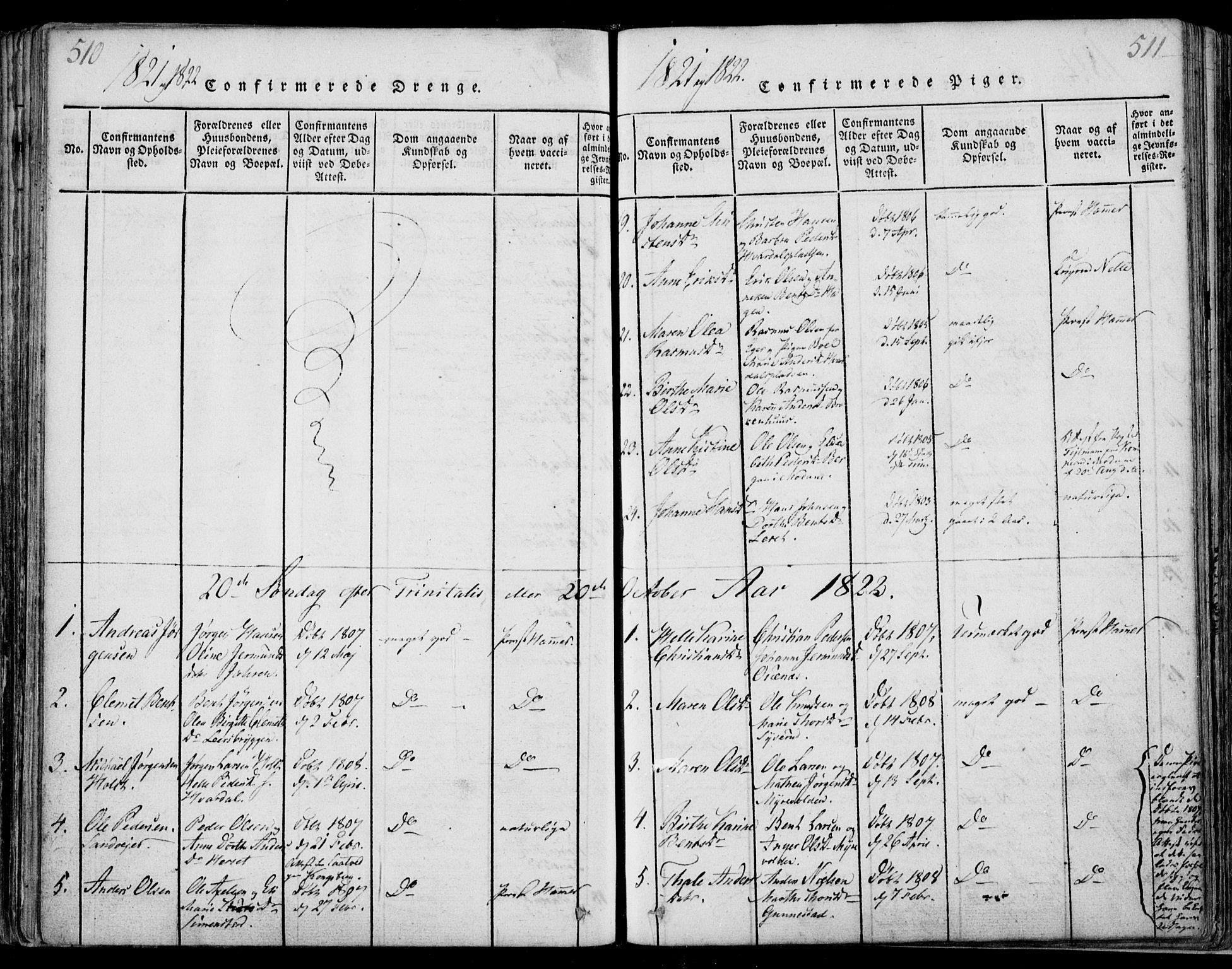 SAKO, Sande Kirkebøker, F/Fa/L0003: Ministerialbok nr. 3, 1814-1847, s. 510-511