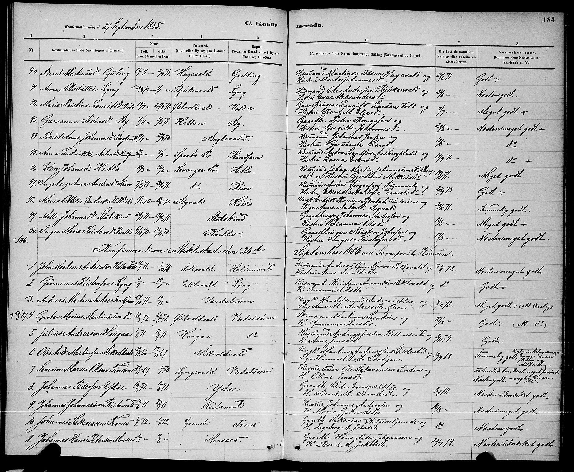SAT, Ministerialprotokoller, klokkerbøker og fødselsregistre - Nord-Trøndelag, 723/L0256: Klokkerbok nr. 723C04, 1879-1890, s. 184