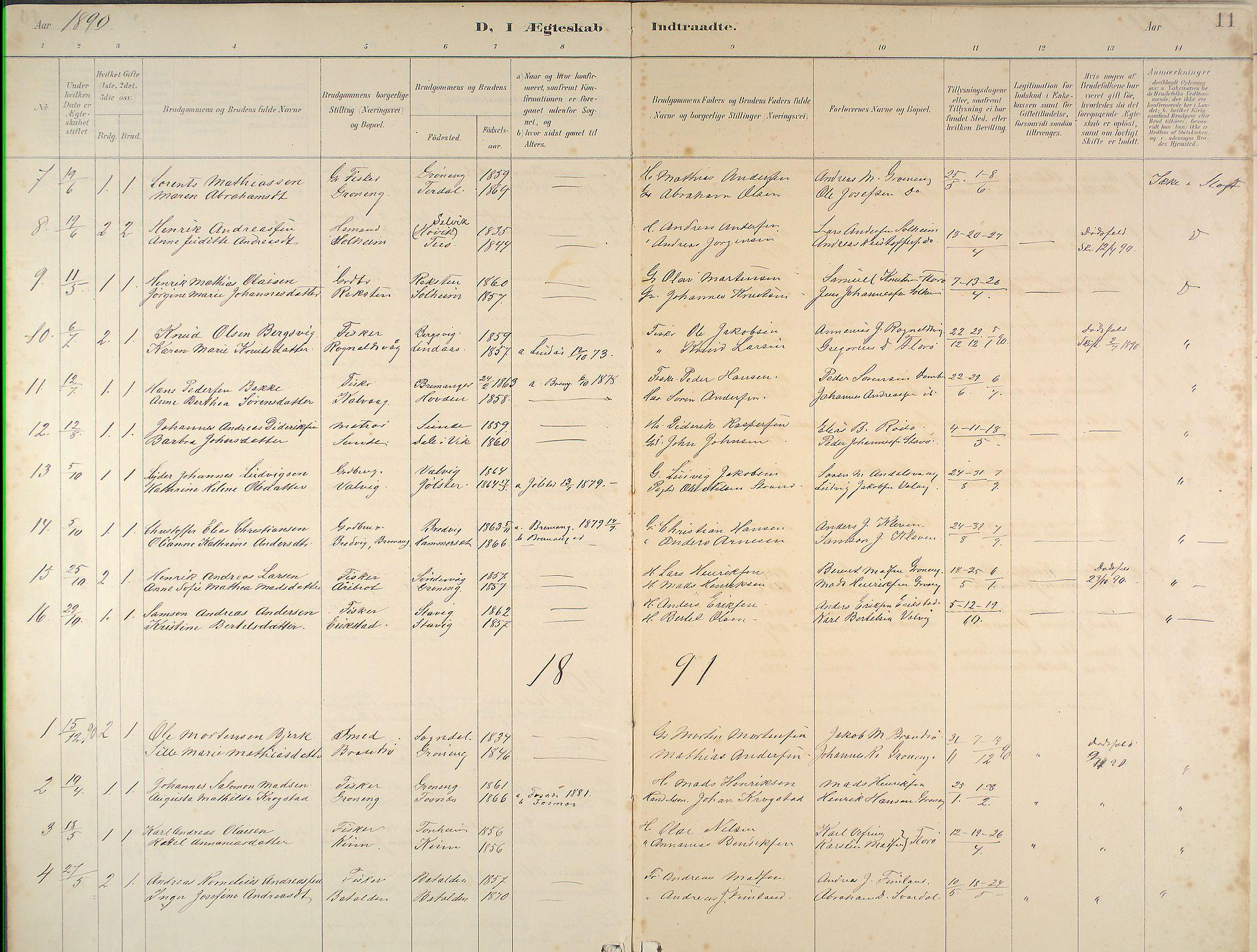 Kinn Sokneprestembete, Ministerialbok nr. B 3, 1886-1936, s. 11