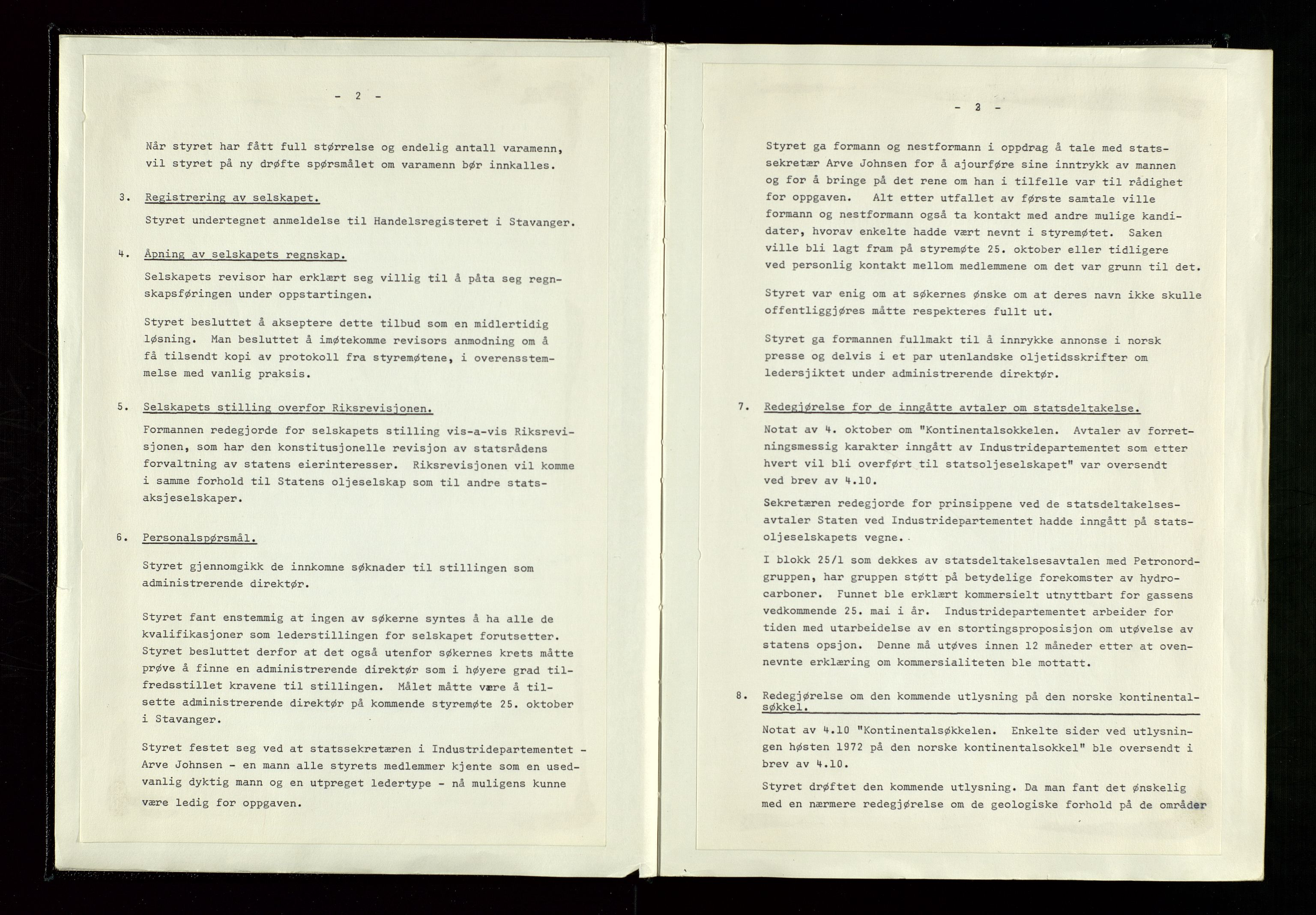 SAST, Pa 1339 - Statoil ASA, A/Ab/Aba/L0001: Styremøteprotokoller, 05.10.1972 til 14.12.1978, 1972-1978, s. 9