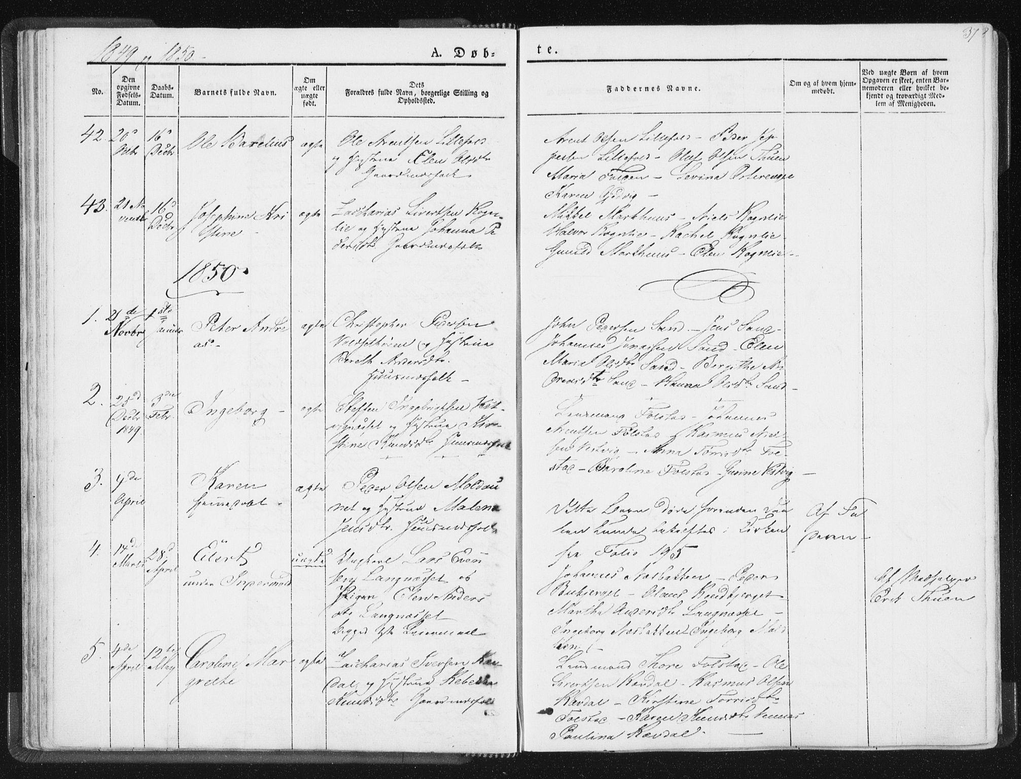 SAT, Ministerialprotokoller, klokkerbøker og fødselsregistre - Nord-Trøndelag, 744/L0418: Ministerialbok nr. 744A02, 1843-1866, s. 37