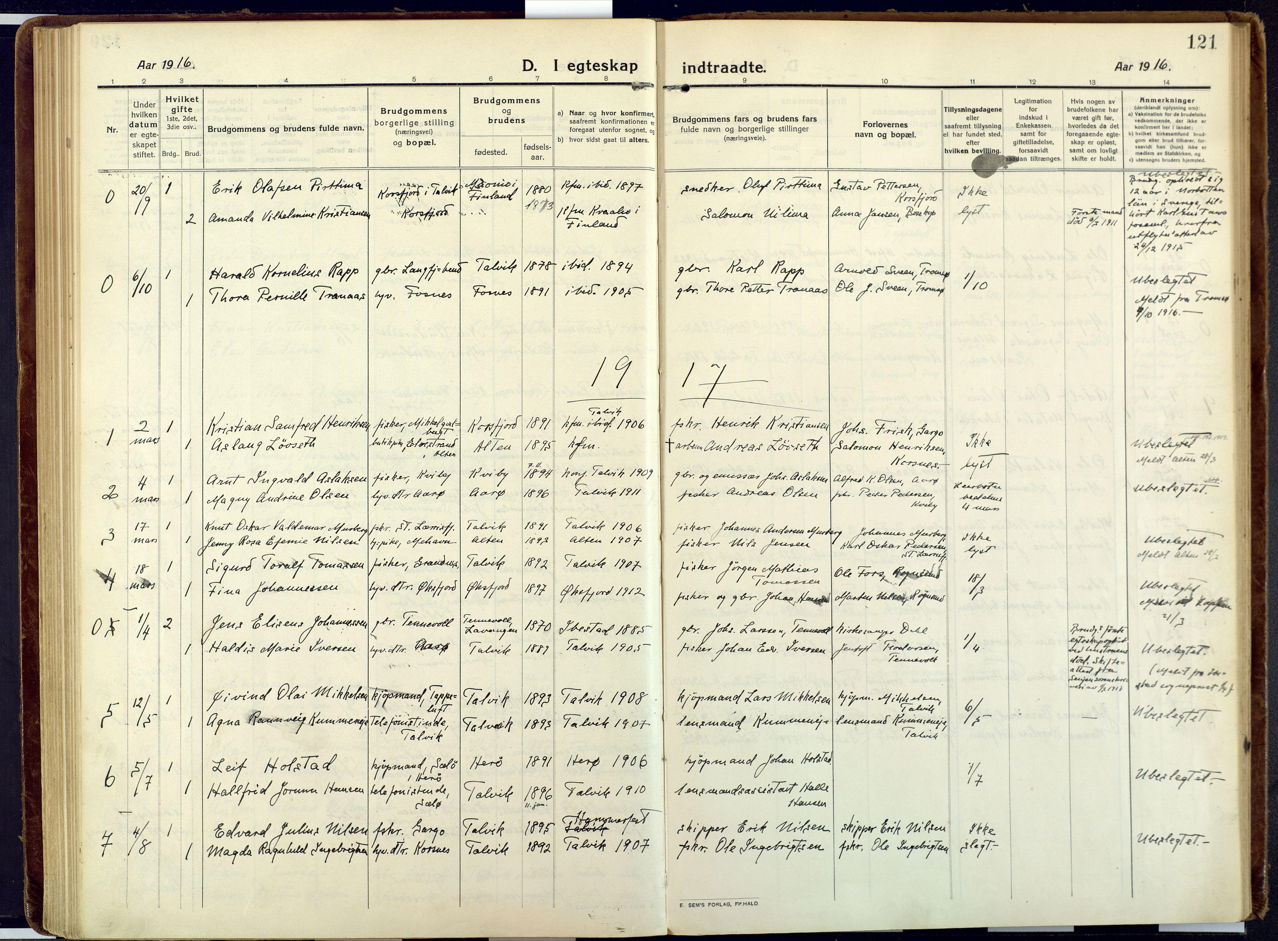 SATØ, Talvik sokneprestkontor, H/Ha/L0018kirke: Ministerialbok nr. 18, 1915-1924, s. 121