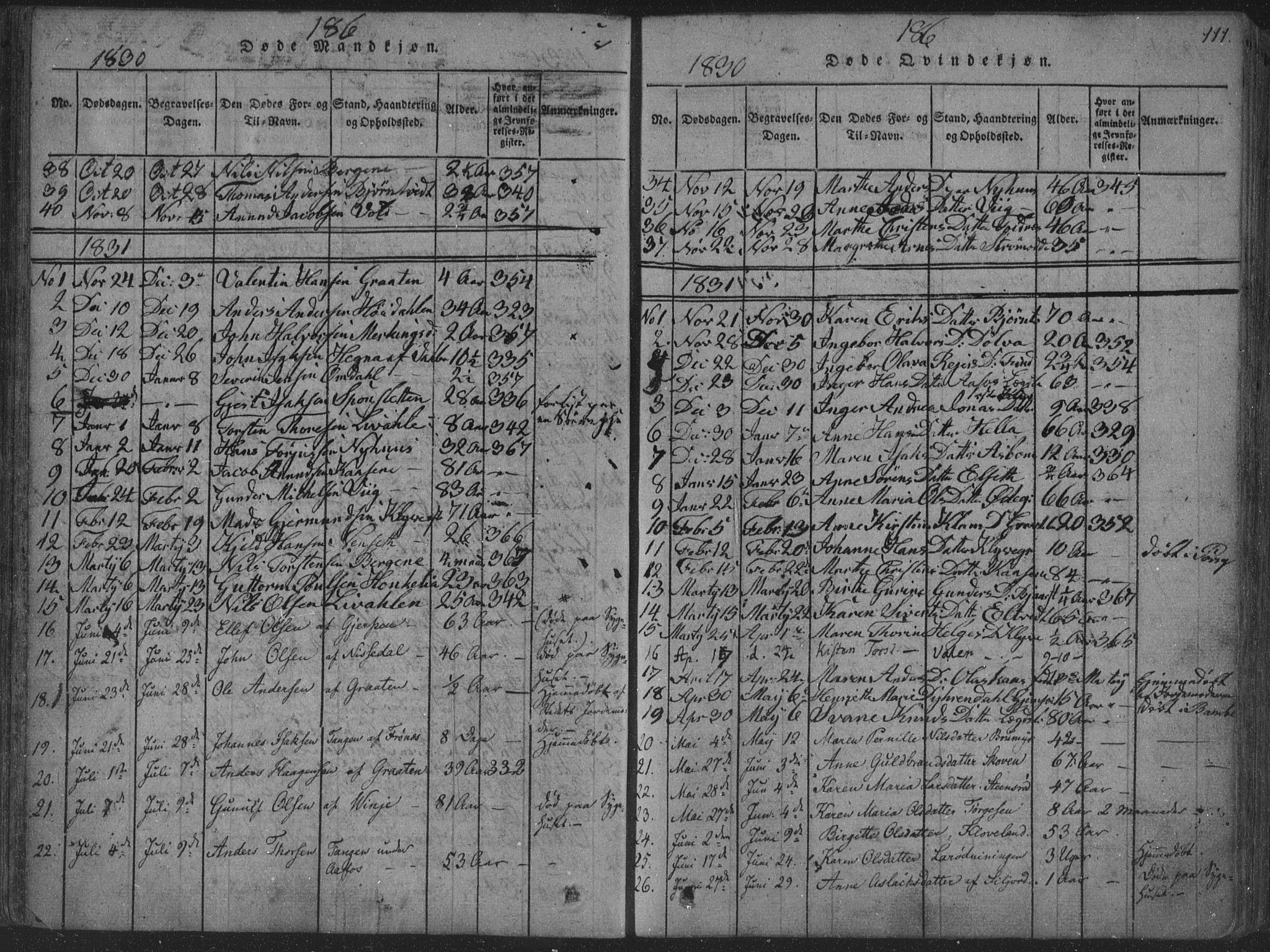SAKO, Solum kirkebøker, F/Fa/L0004: Ministerialbok nr. I 4, 1814-1833, s. 111