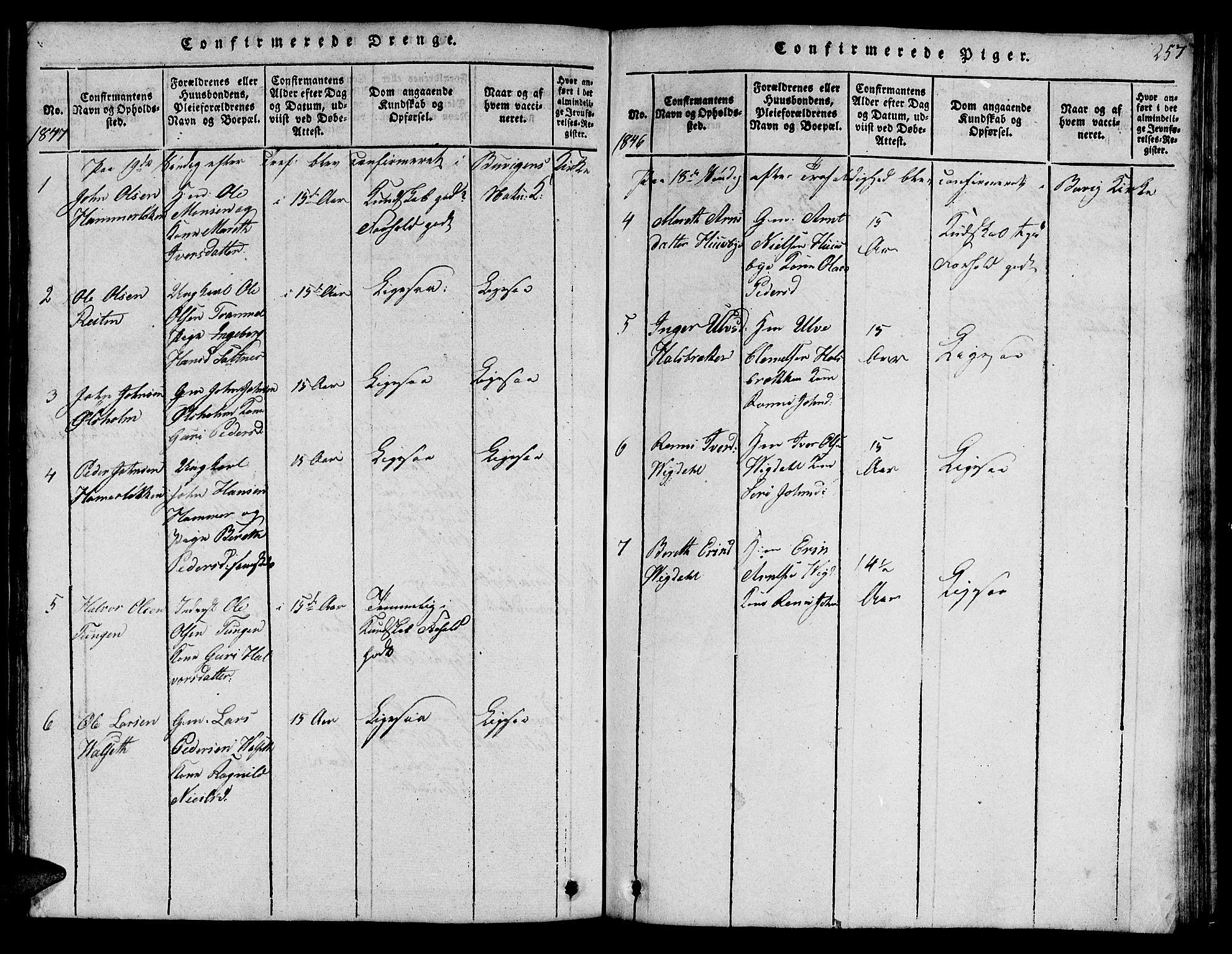 SAT, Ministerialprotokoller, klokkerbøker og fødselsregistre - Sør-Trøndelag, 666/L0788: Klokkerbok nr. 666C01, 1816-1847, s. 257