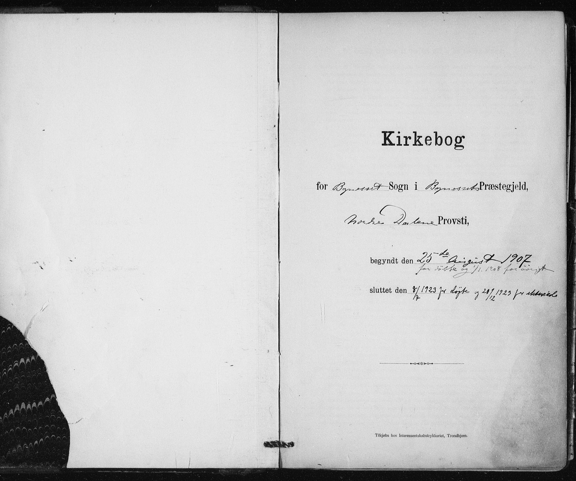 SAT, Ministerialprotokoller, klokkerbøker og fødselsregistre - Sør-Trøndelag, 612/L0381: Ministerialbok nr. 612A13, 1907-1923