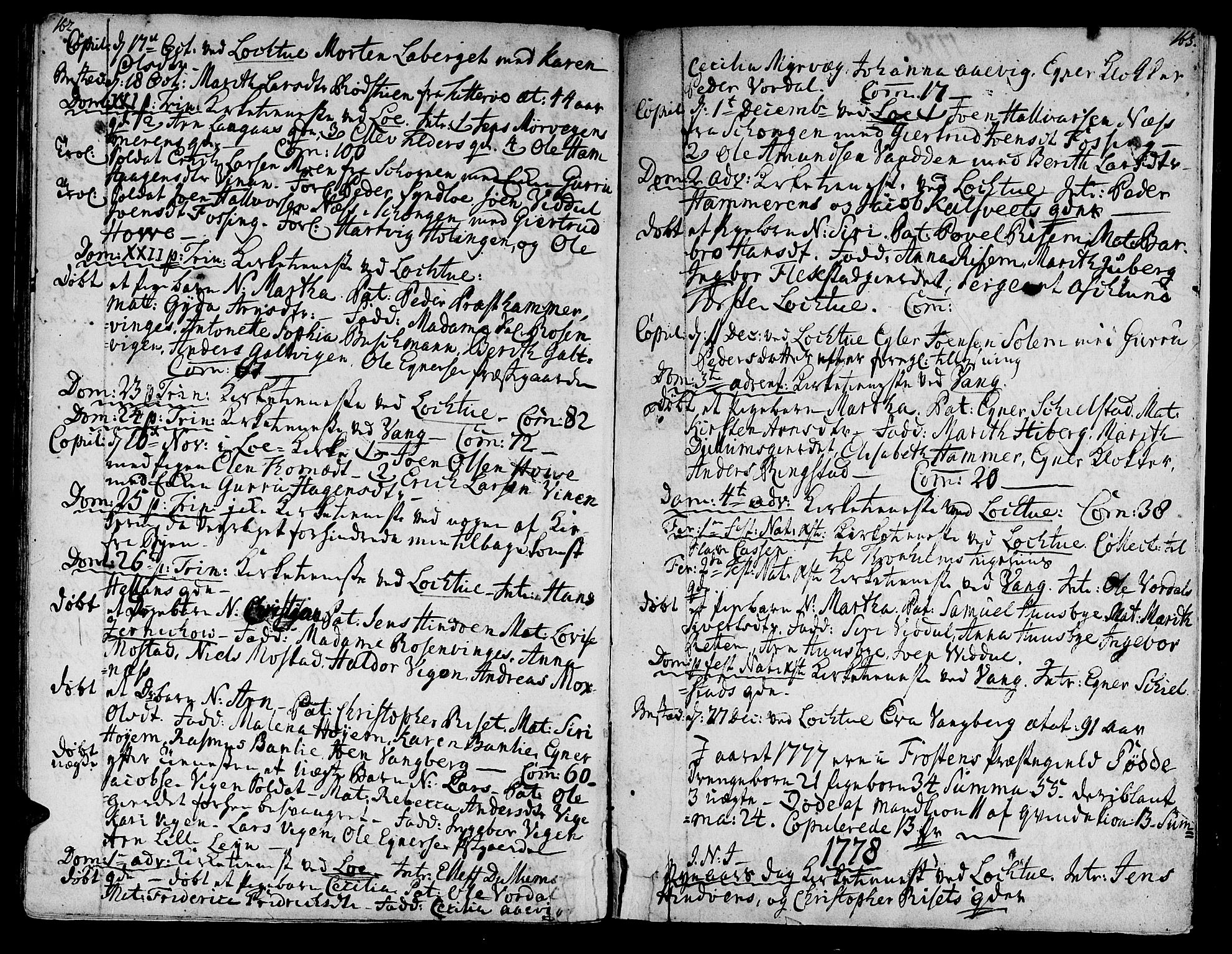 SAT, Ministerialprotokoller, klokkerbøker og fødselsregistre - Nord-Trøndelag, 713/L0109: Ministerialbok nr. 713A01, 1750-1778, s. 162-163