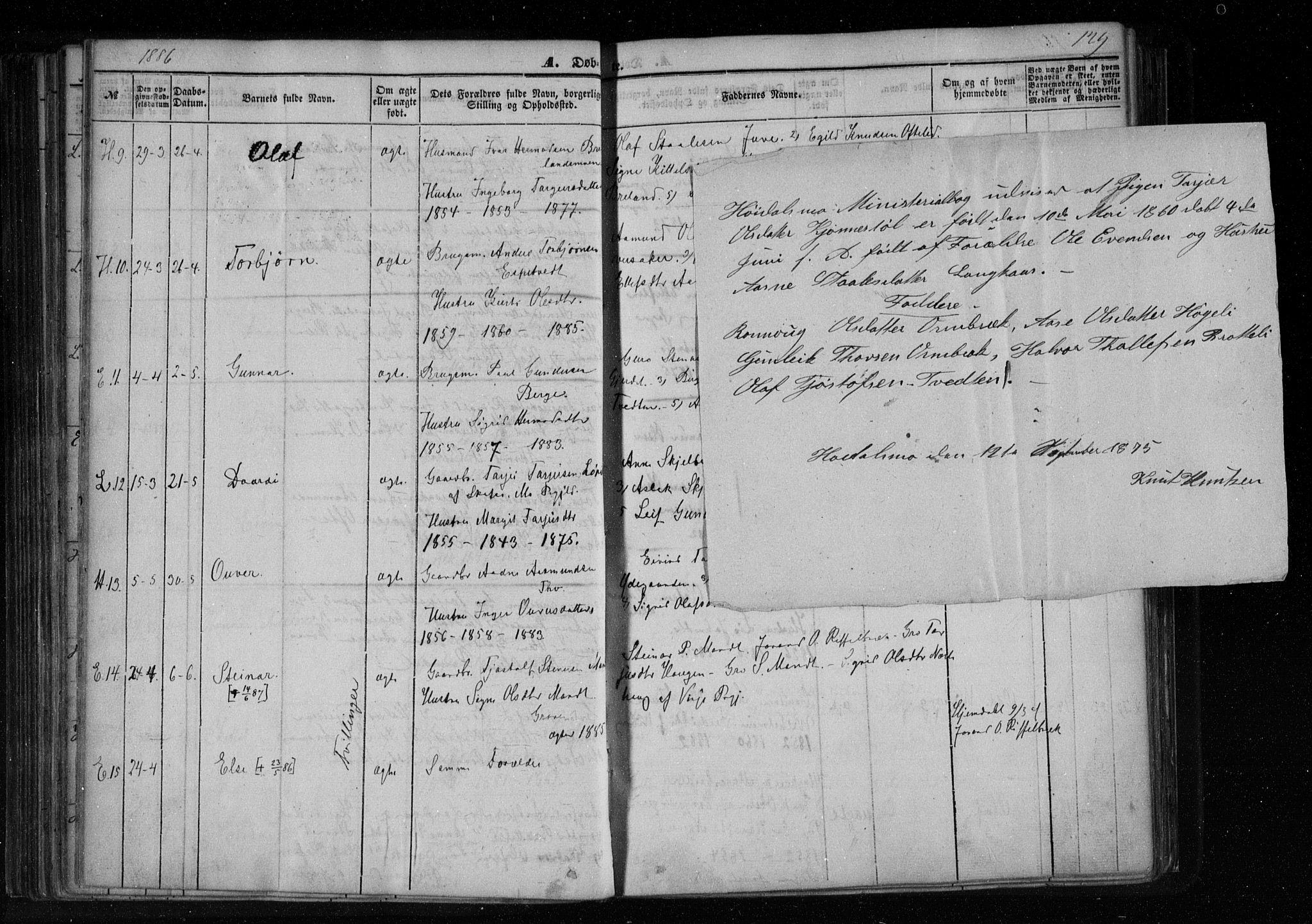 SAKO, Lårdal kirkebøker, F/Fa/L0006: Ministerialbok nr. I 6, 1861-1886, s. 129